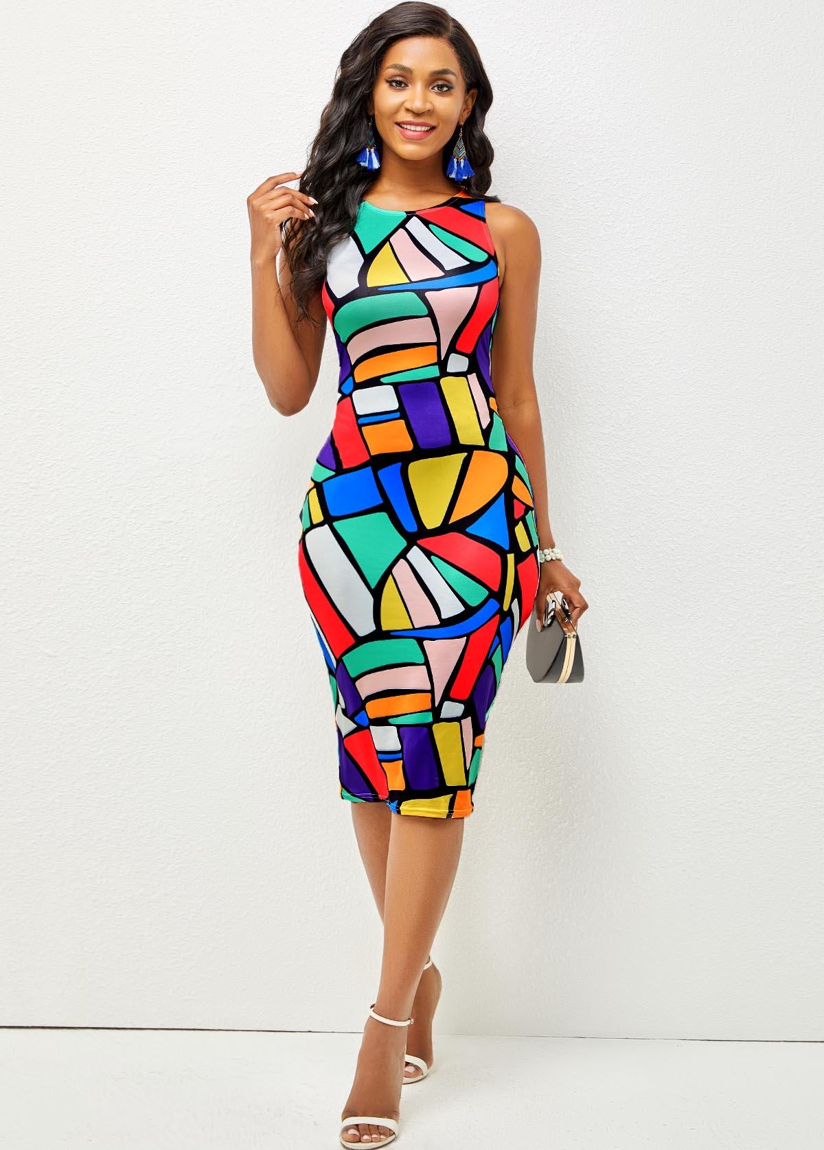 ROTITA Round Neck Geometric Print Sleeveless Dress