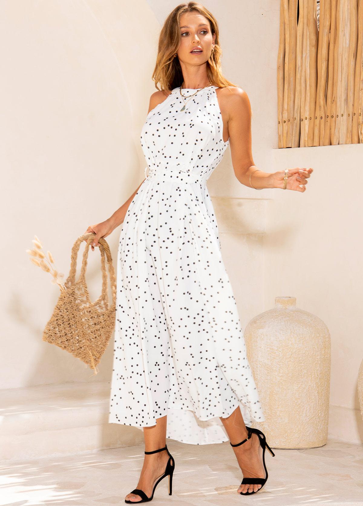 Sleeveless Polka Dot Belted Maxi Dress