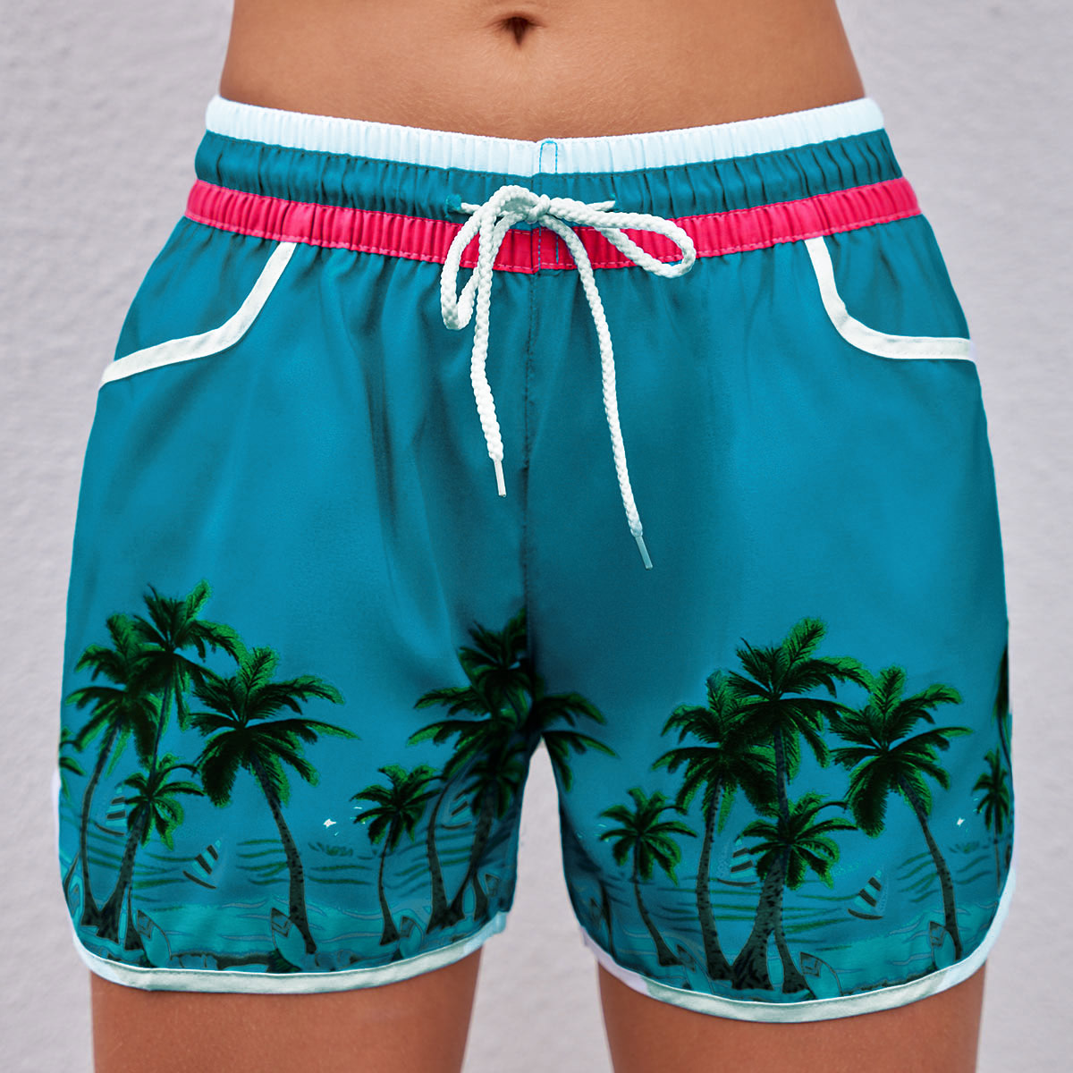 Tropical Print Mid Waist Drawstring Detail Swim Shorts