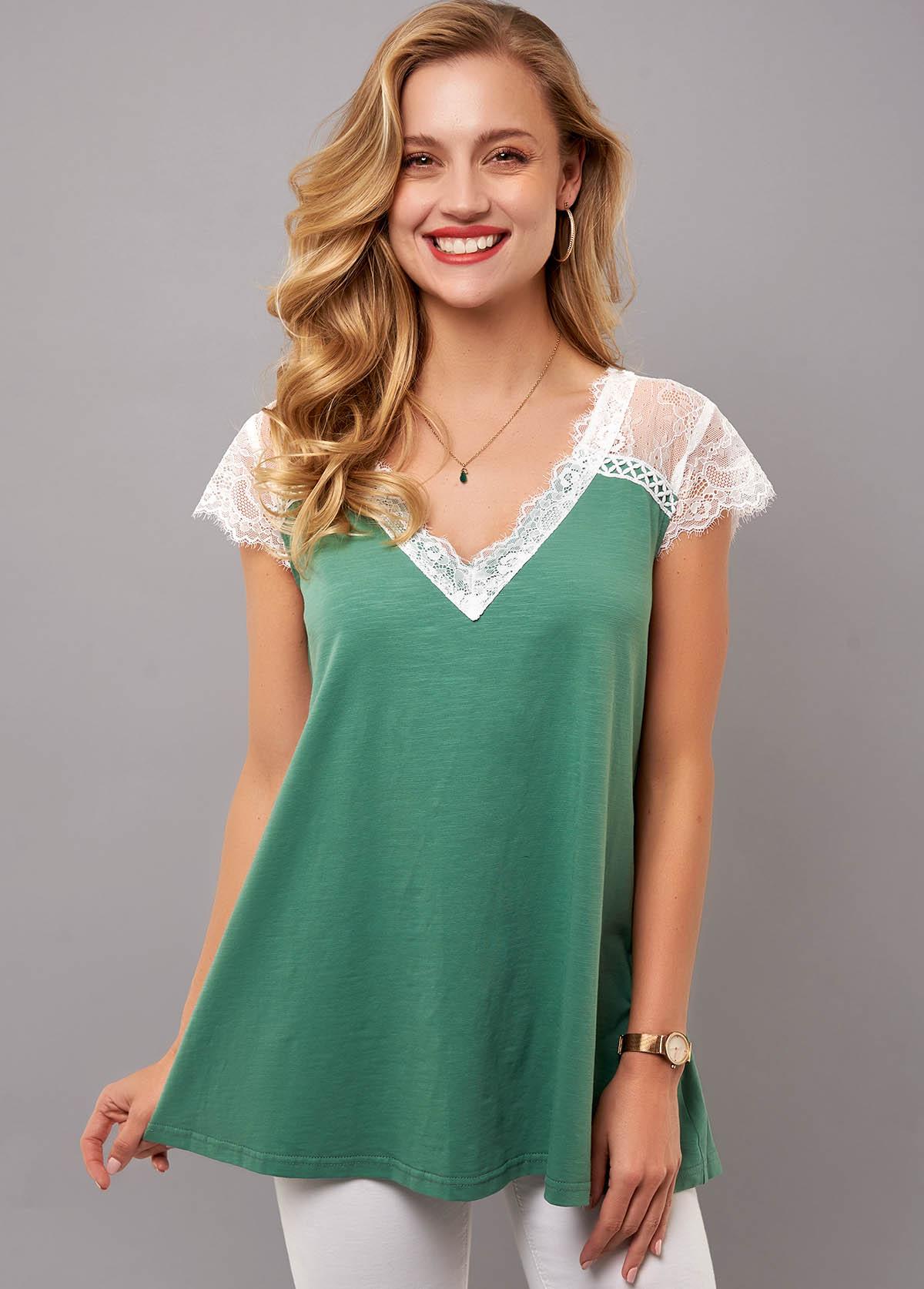 ROTITA V Neck Lace Stitching Short Sleeve T Shirt