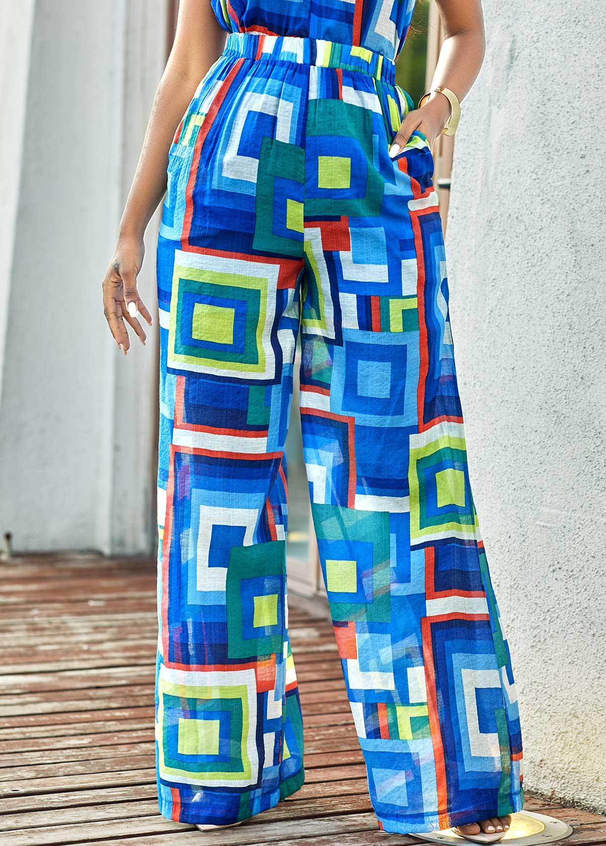 ROTITA High Waisted Geometric Print Loose Pants