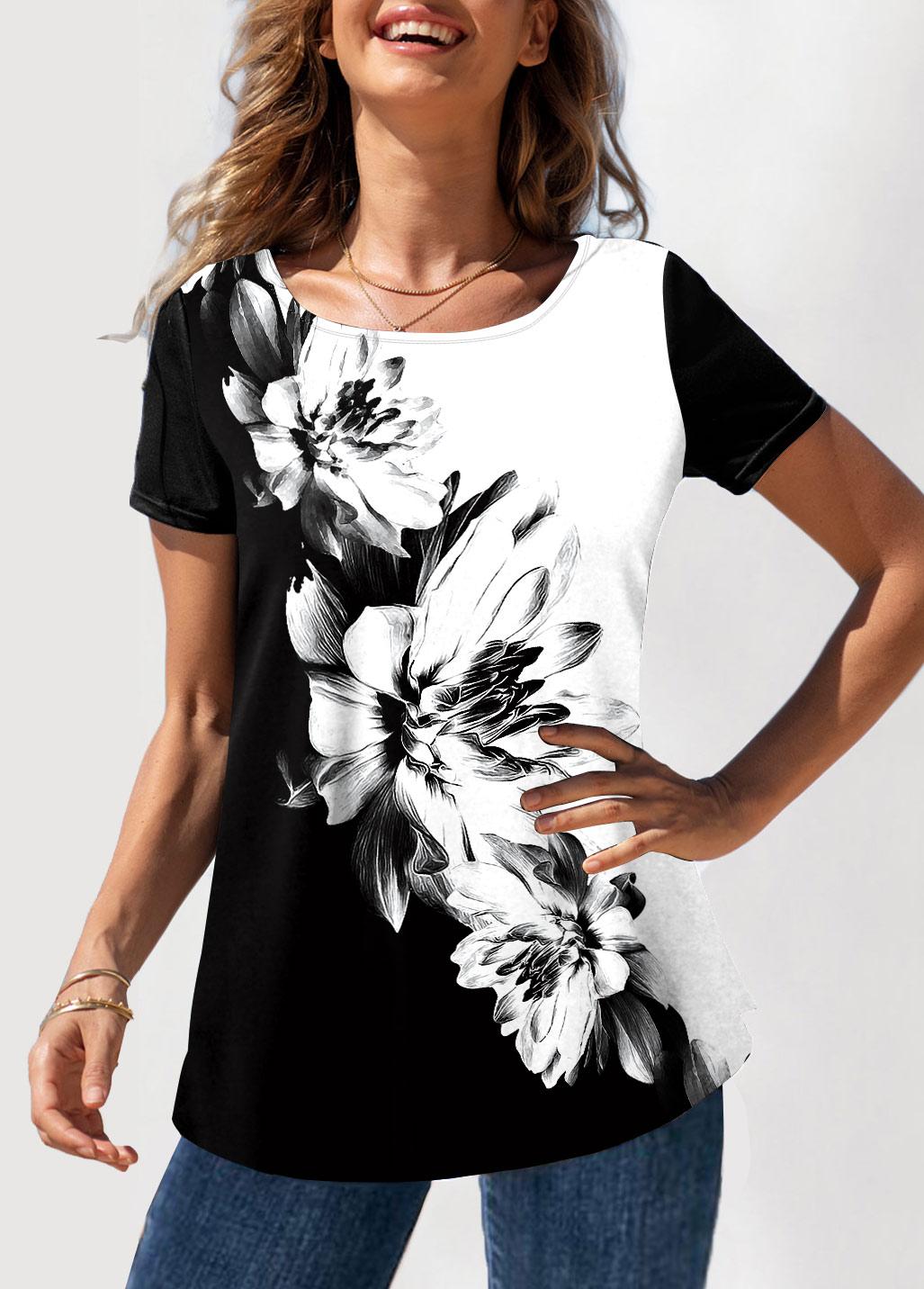 ROTITA Color Block Floral Print Round Neck T Shirt