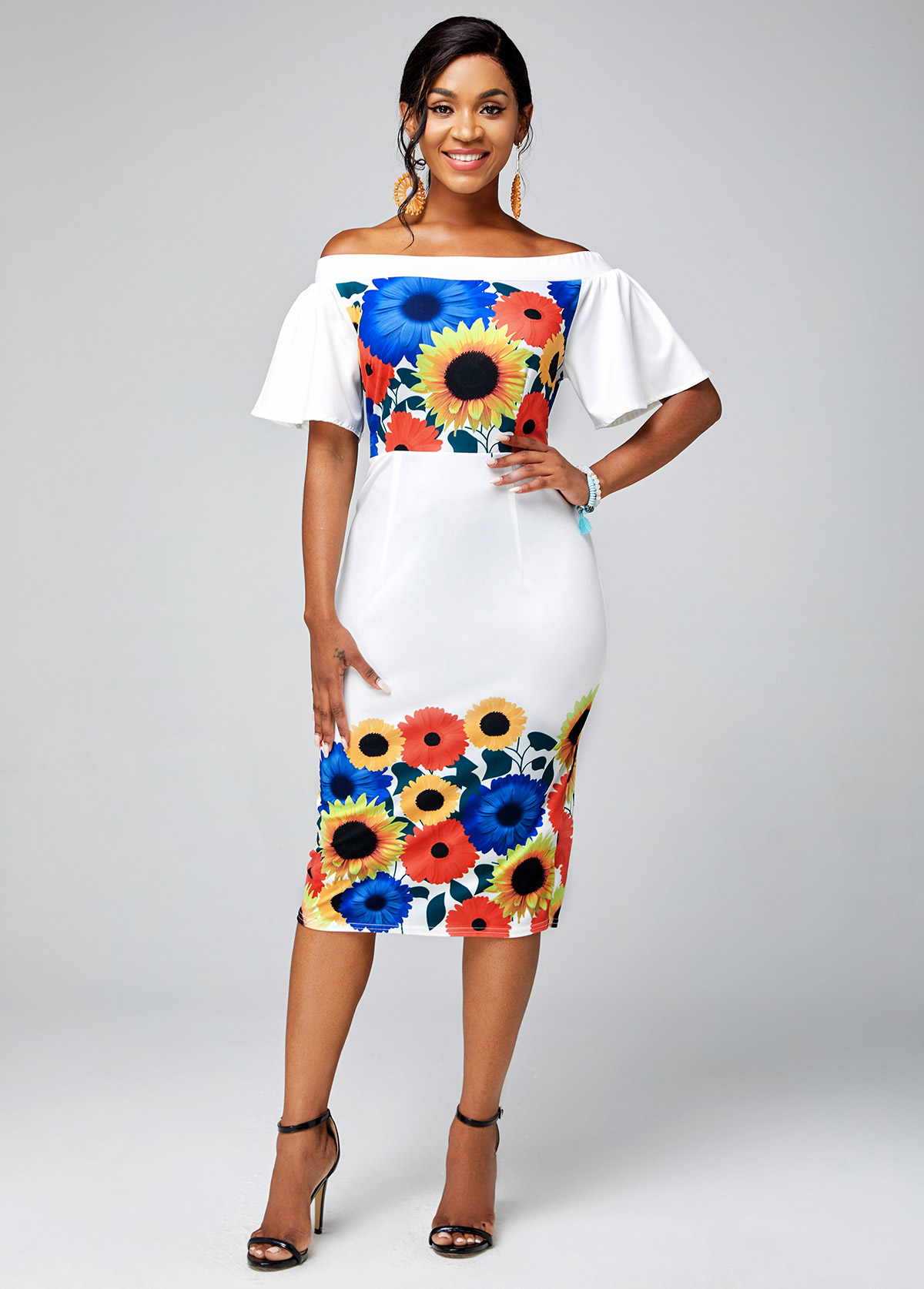 ROTITA Off Shoulder Ruffle Sleeve Floral Print Dress