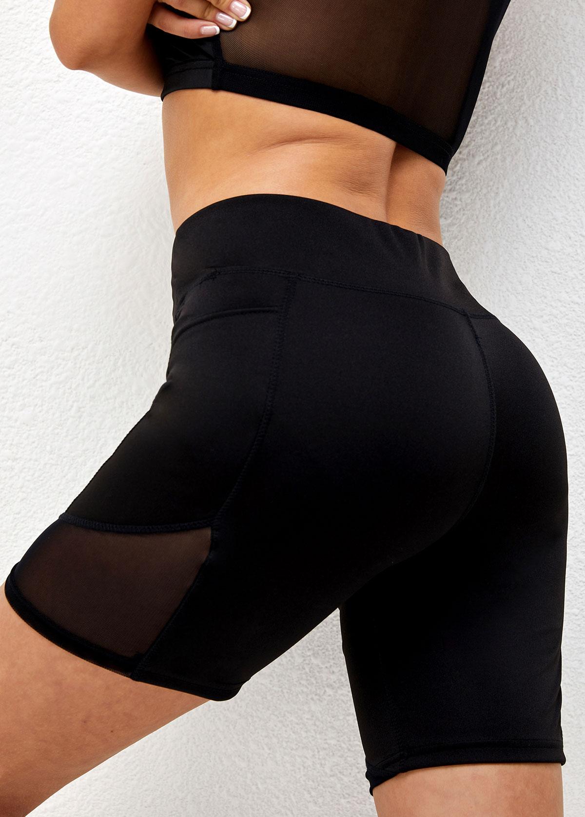 High Waisted Black Pocket Skinny Shorts