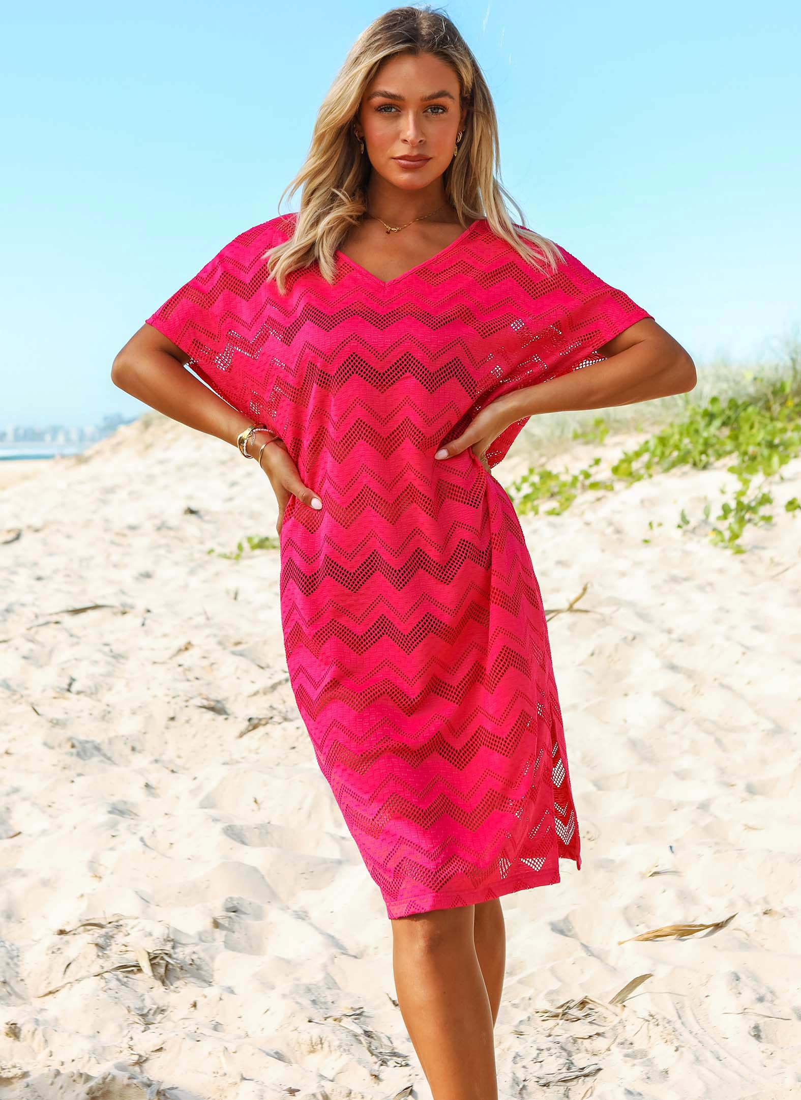 ROTITA V Neck Lace Rose Red Short Sleeve Cover Up
