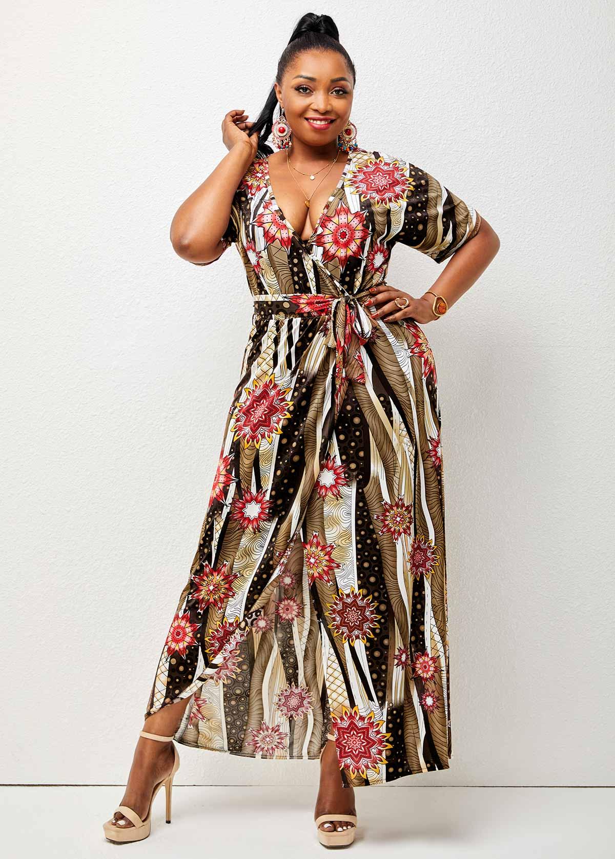 Floral Print Plus Size Front Slit Dress