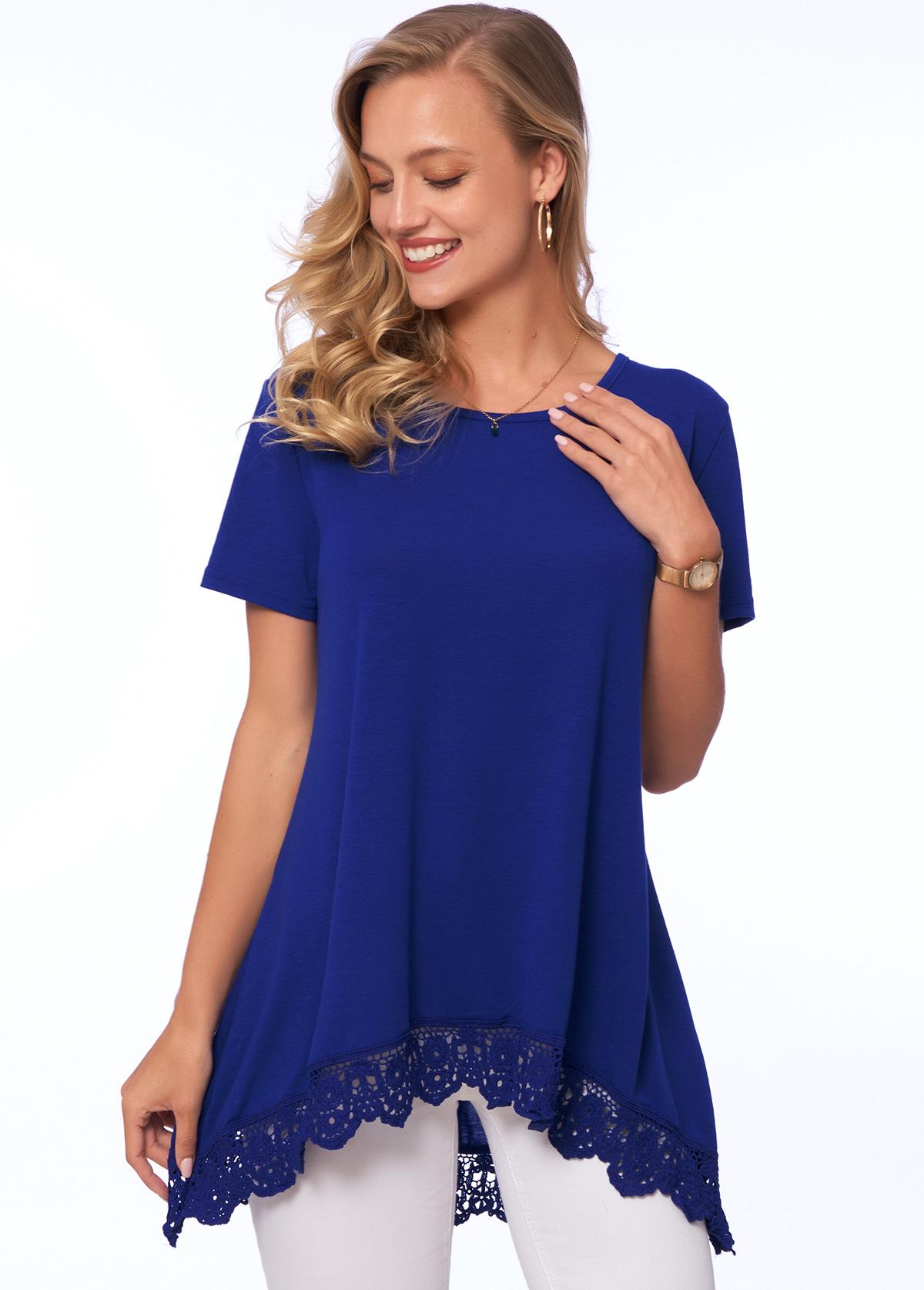 Short Sleeve Lace Stitching Round Neck T Shirt