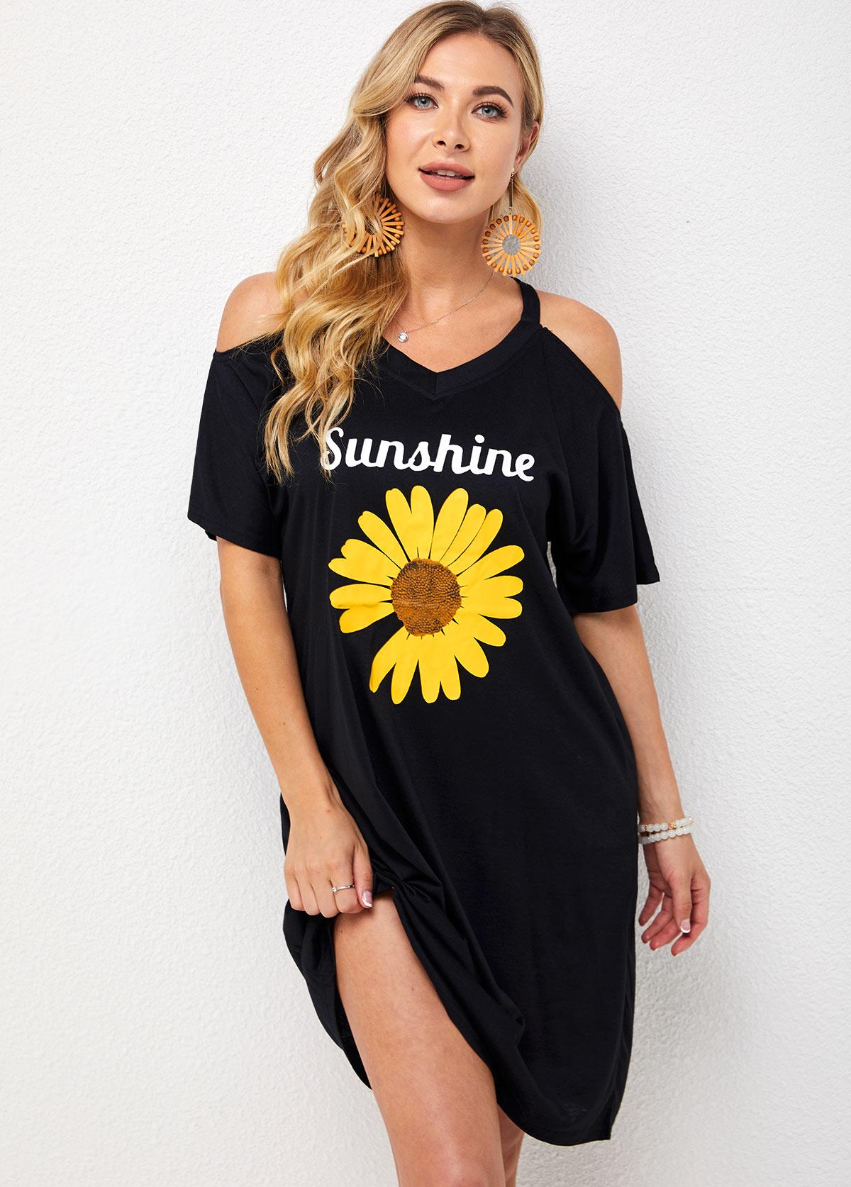 Cold Shoulder V Neck Sunflower Print Dress