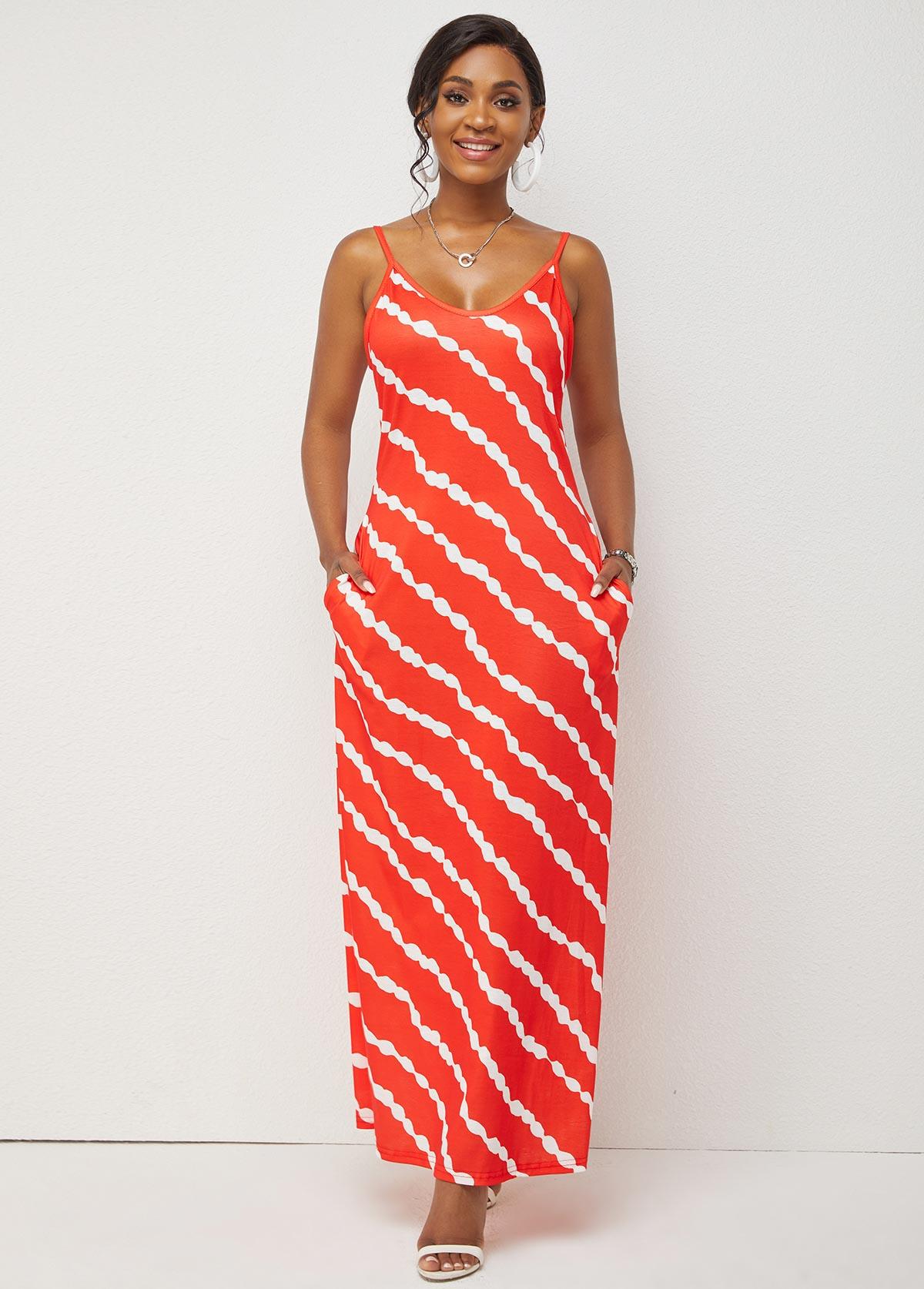 Spaghetti Strap Double Pocket Stripe Print Dress