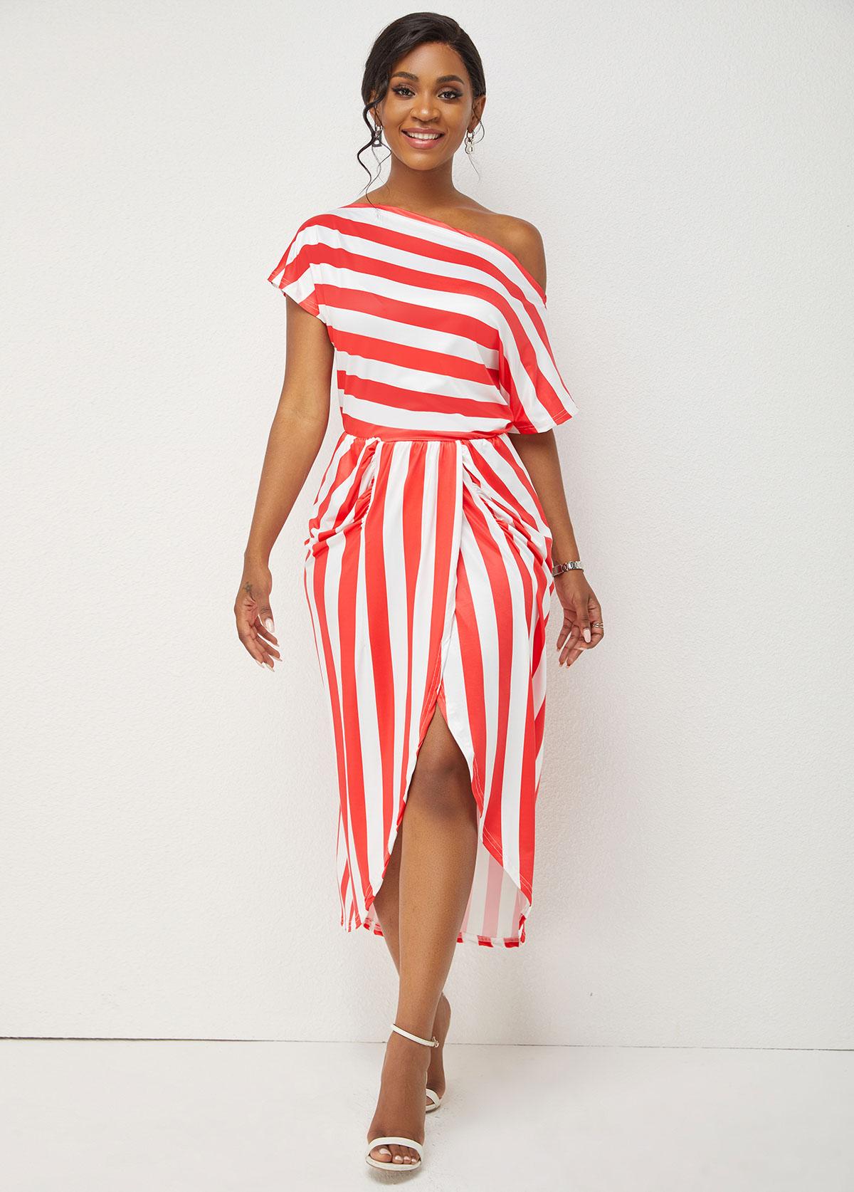 Striped Print One Shoulder Skew Neck Dress