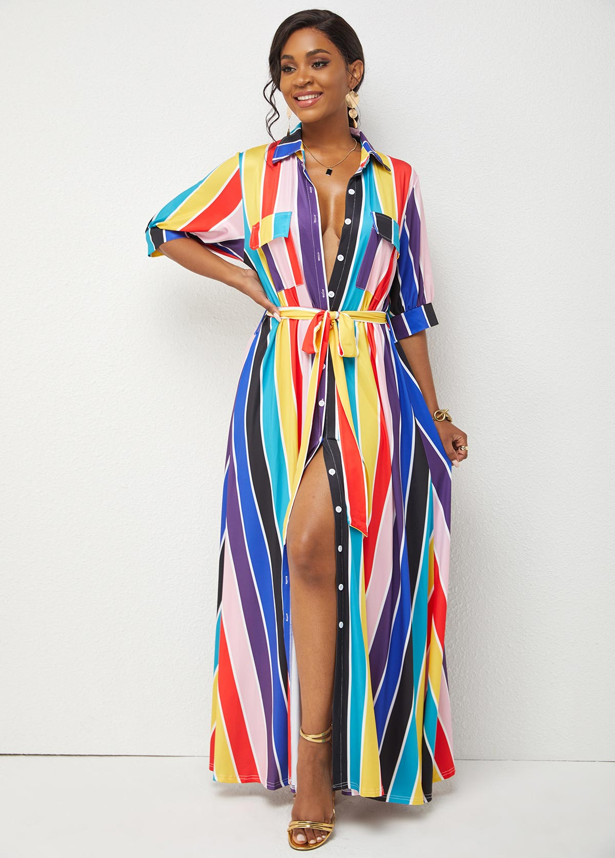Rainbow Stripe Belted Turndown Collar Maxi Dress