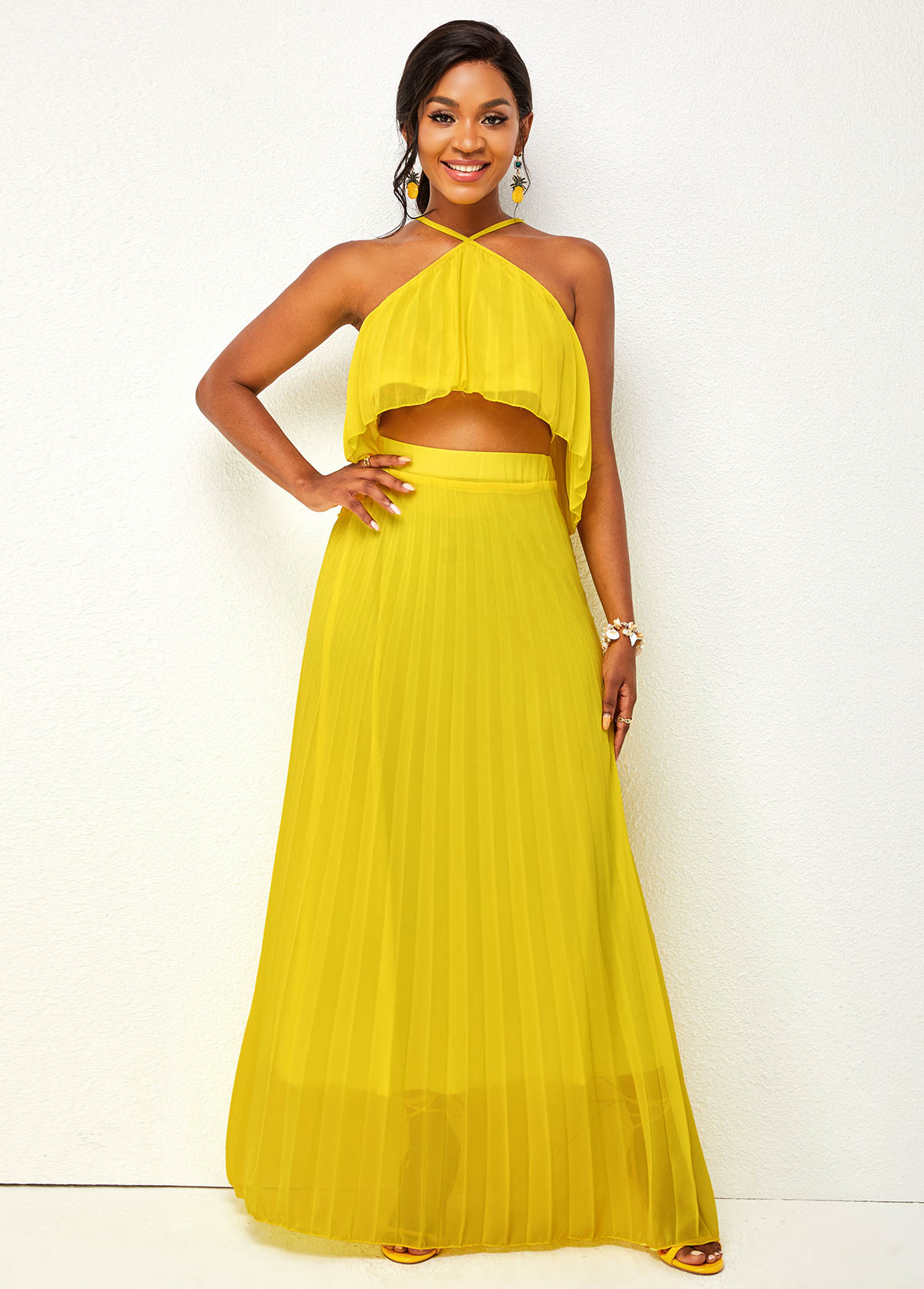 Criss Cross Neck Top and Solid Pleated Hem Skirt