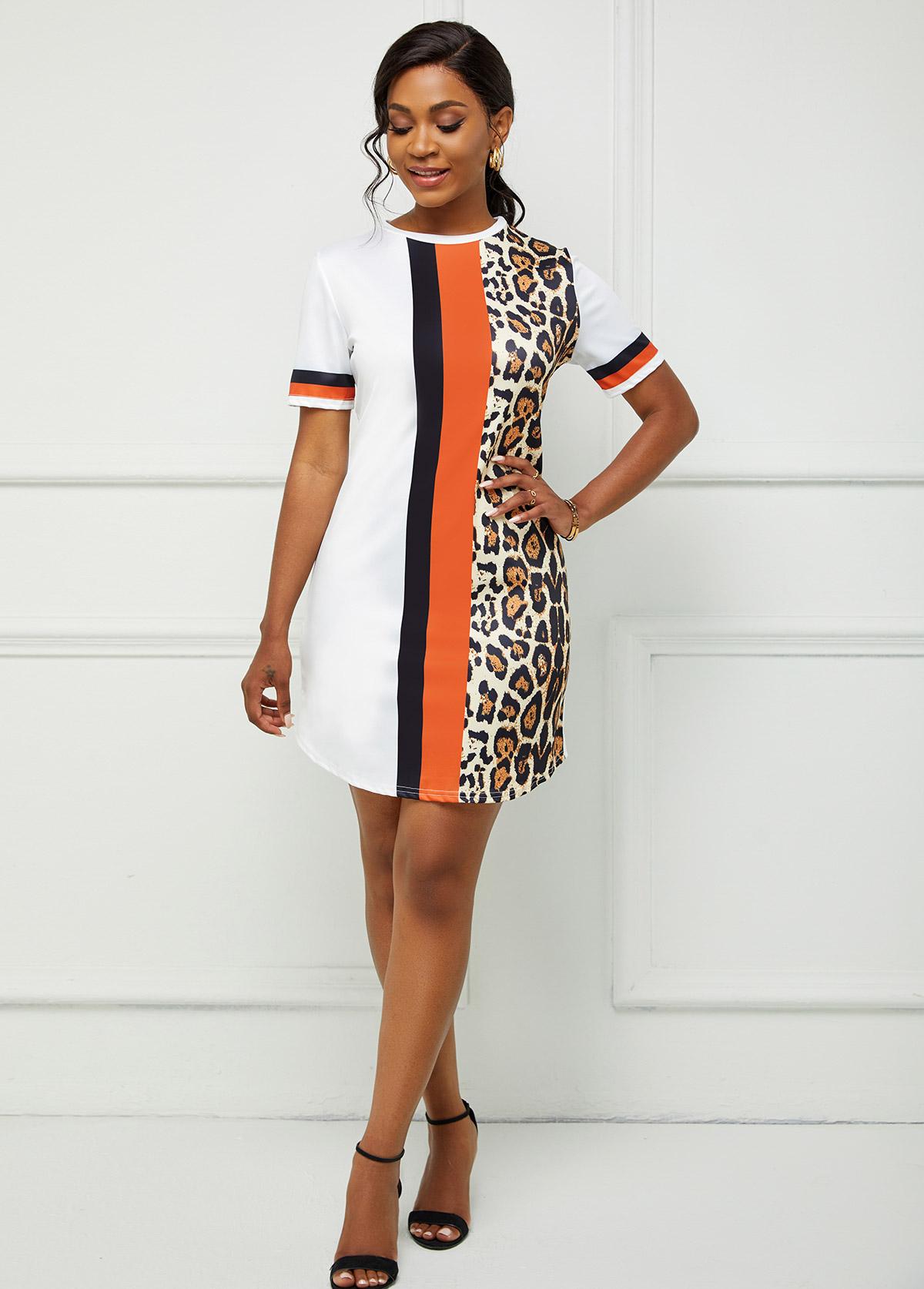 Leopard Print Round Neck Short Sleeve Bodycon Dress