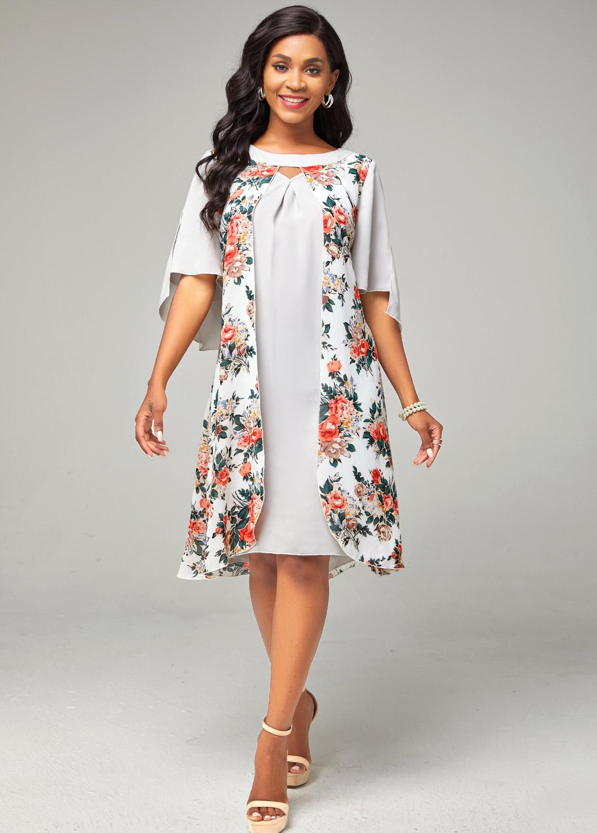 ROTITA Chiffon Keyhole Neckline Floral Print Dress
