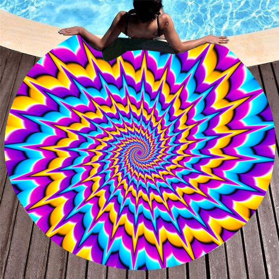 ROTITA Circular Design Colorful Printed Beach Blanket