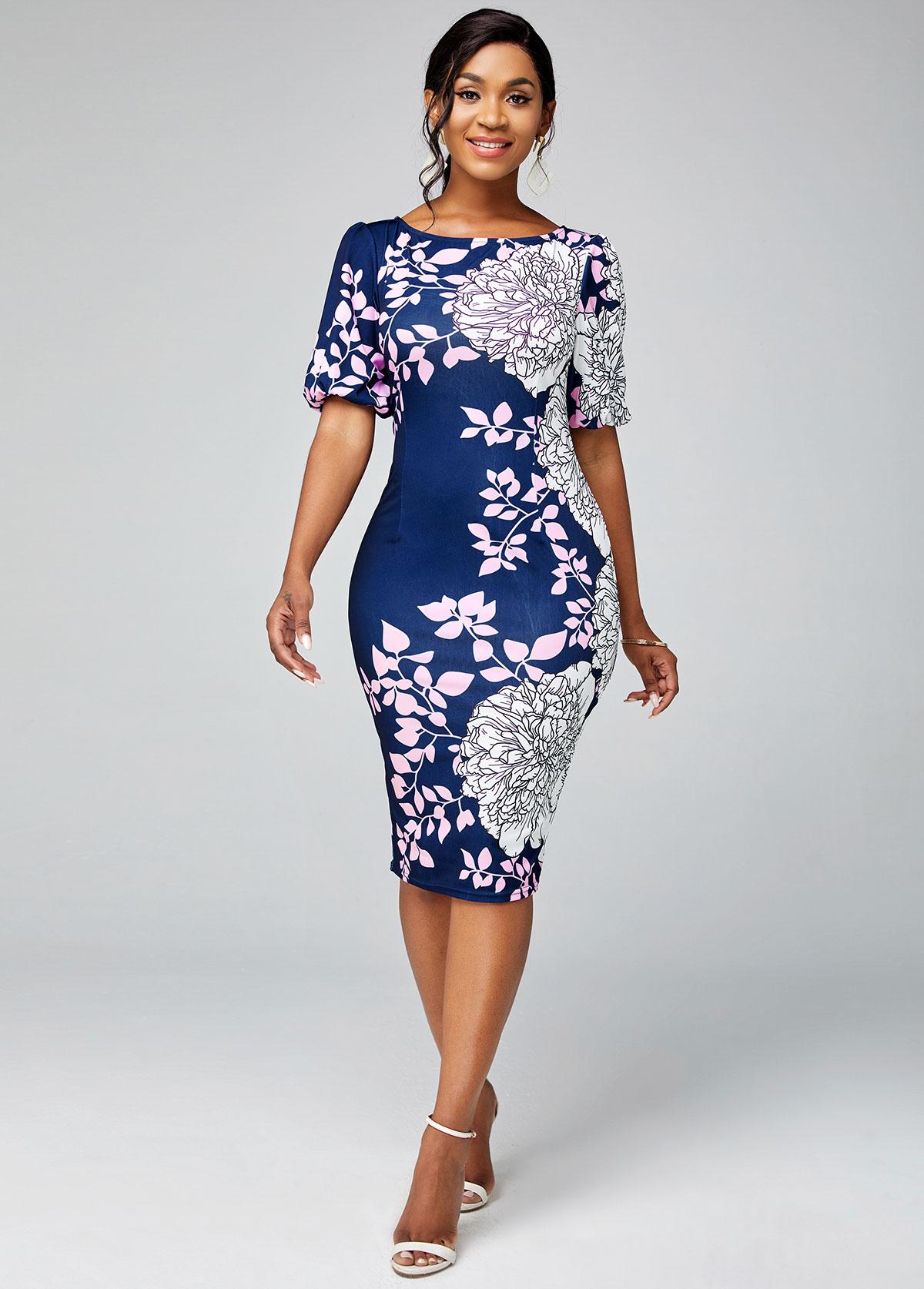 ROTITA Round Neck Floral Print Short Sleeve Bodycon Dress