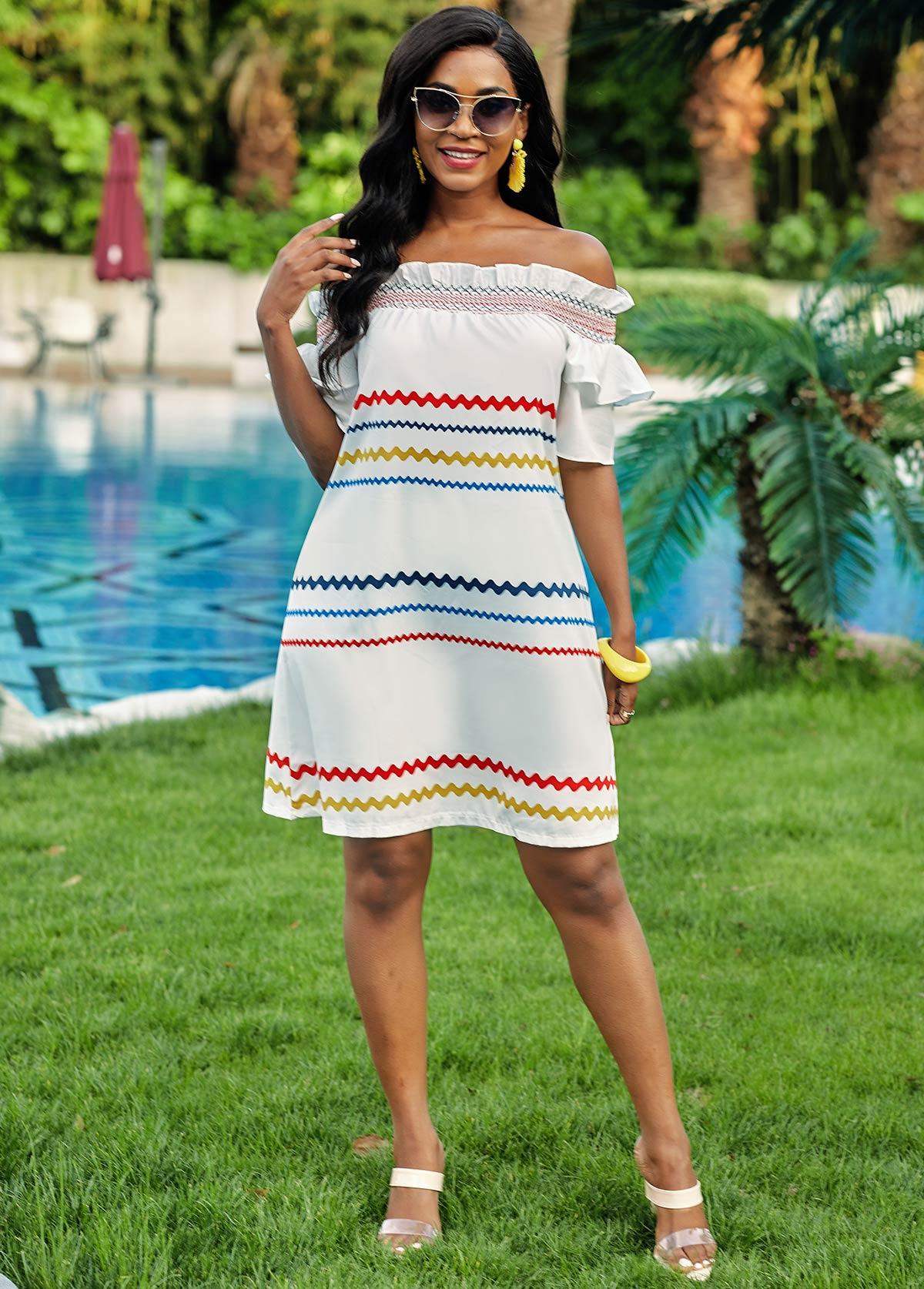 Rainbow Stripe Off Shoulder Stringy Selvedge Dress