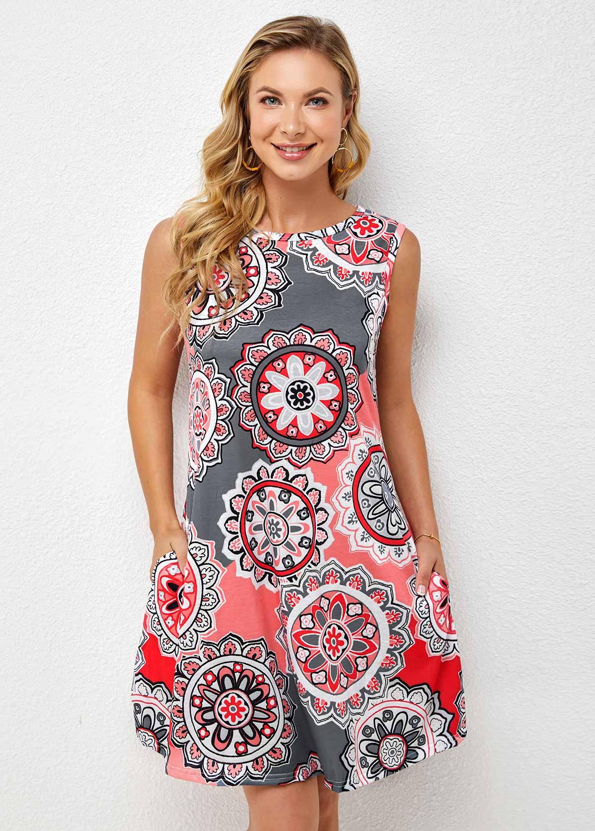 Geometric Print Pocket Round Neck Dress
