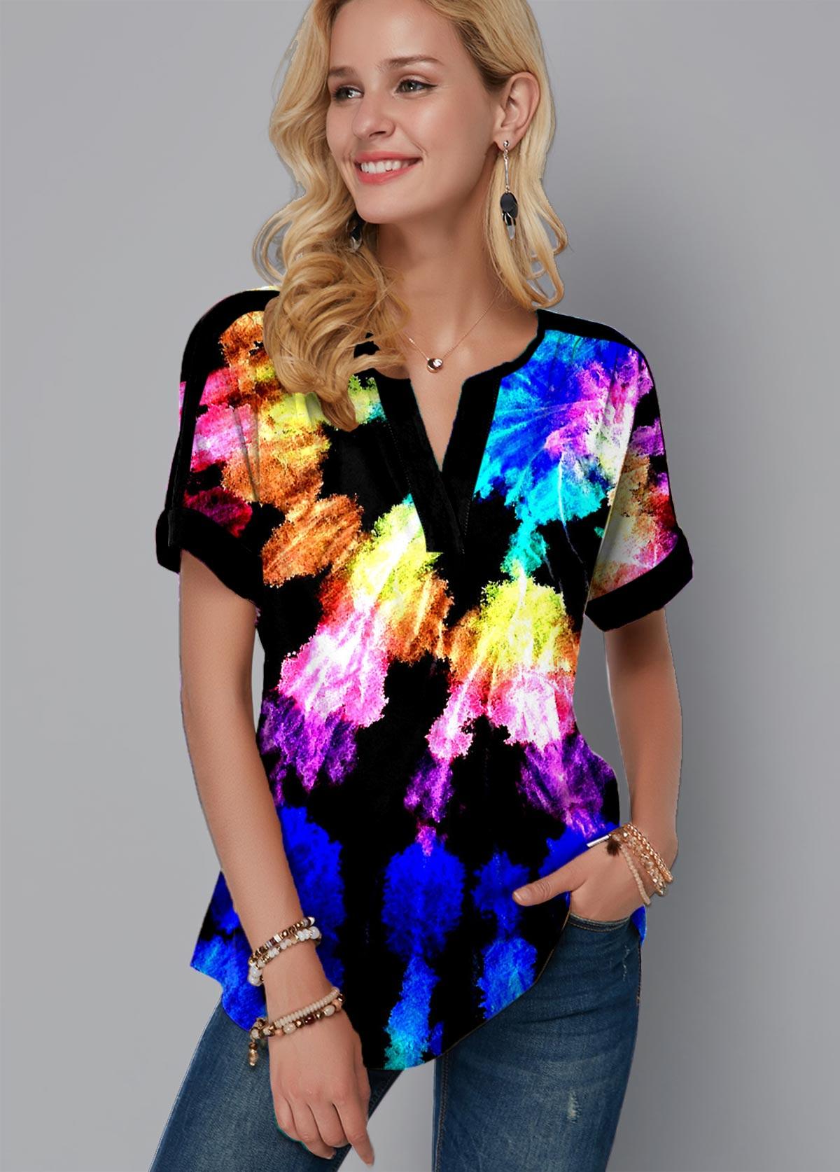 ROTITA Rainbow Color Tie Dye Print Split Neck Blouse