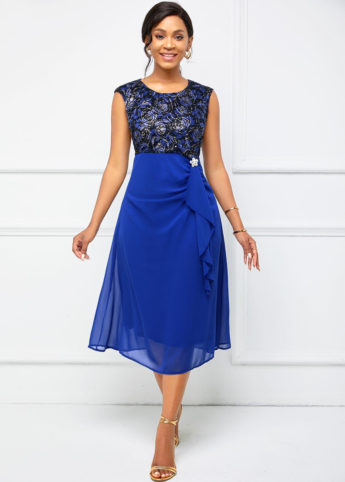 ROTITA Lace Stitching Cap Sleeve Flounce Dress
