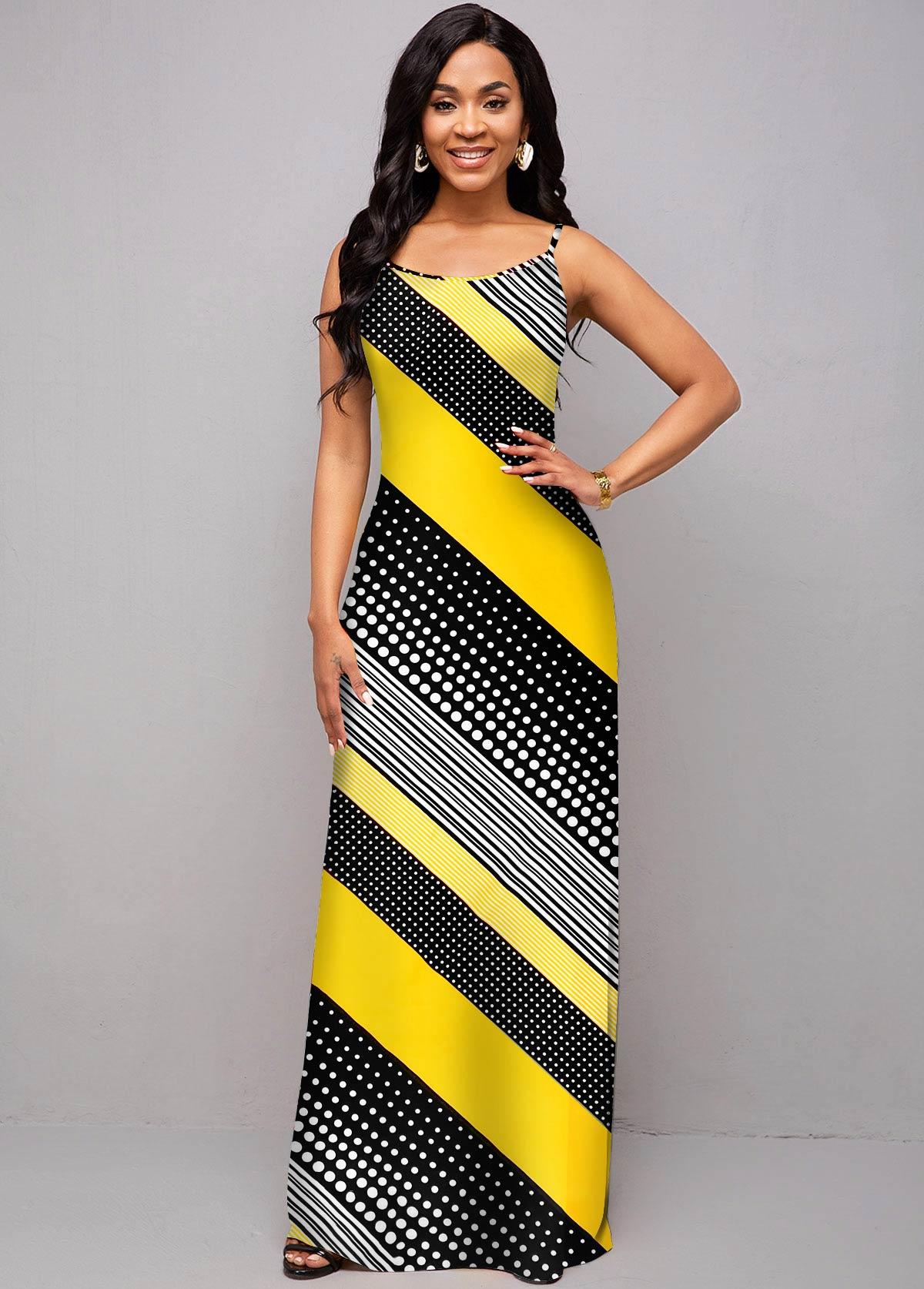 ROTITA Moroccan Print Spaghetti Strap Maxi Dress