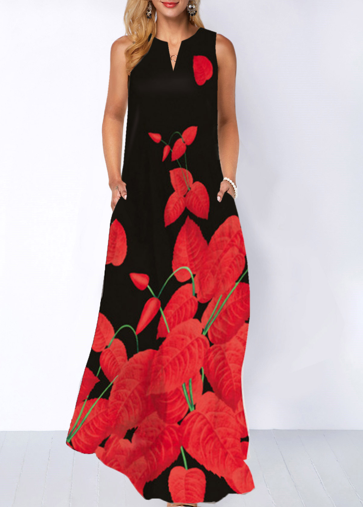 Split Neck Printed Pocket Maxi Dress