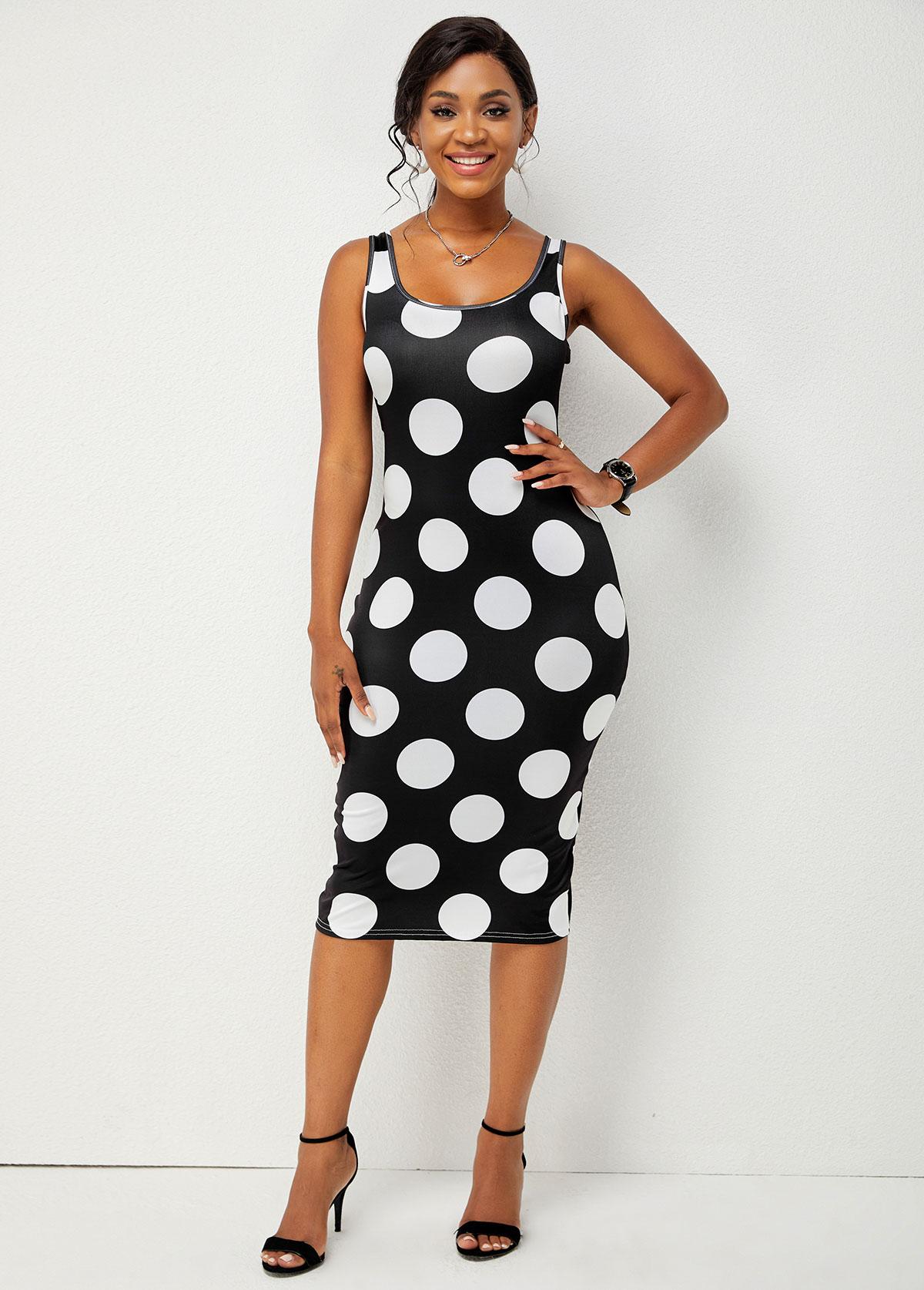 Wide Strap Polka Dot Bodycon Dress