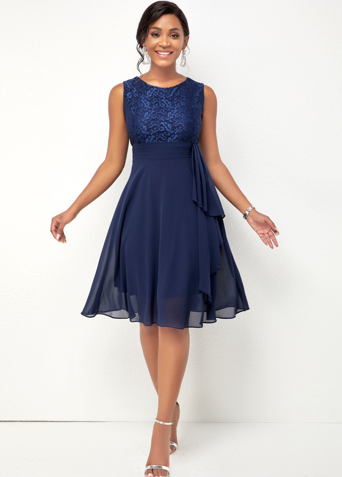 Chiffon Lace Stitching Navy Blue Dress