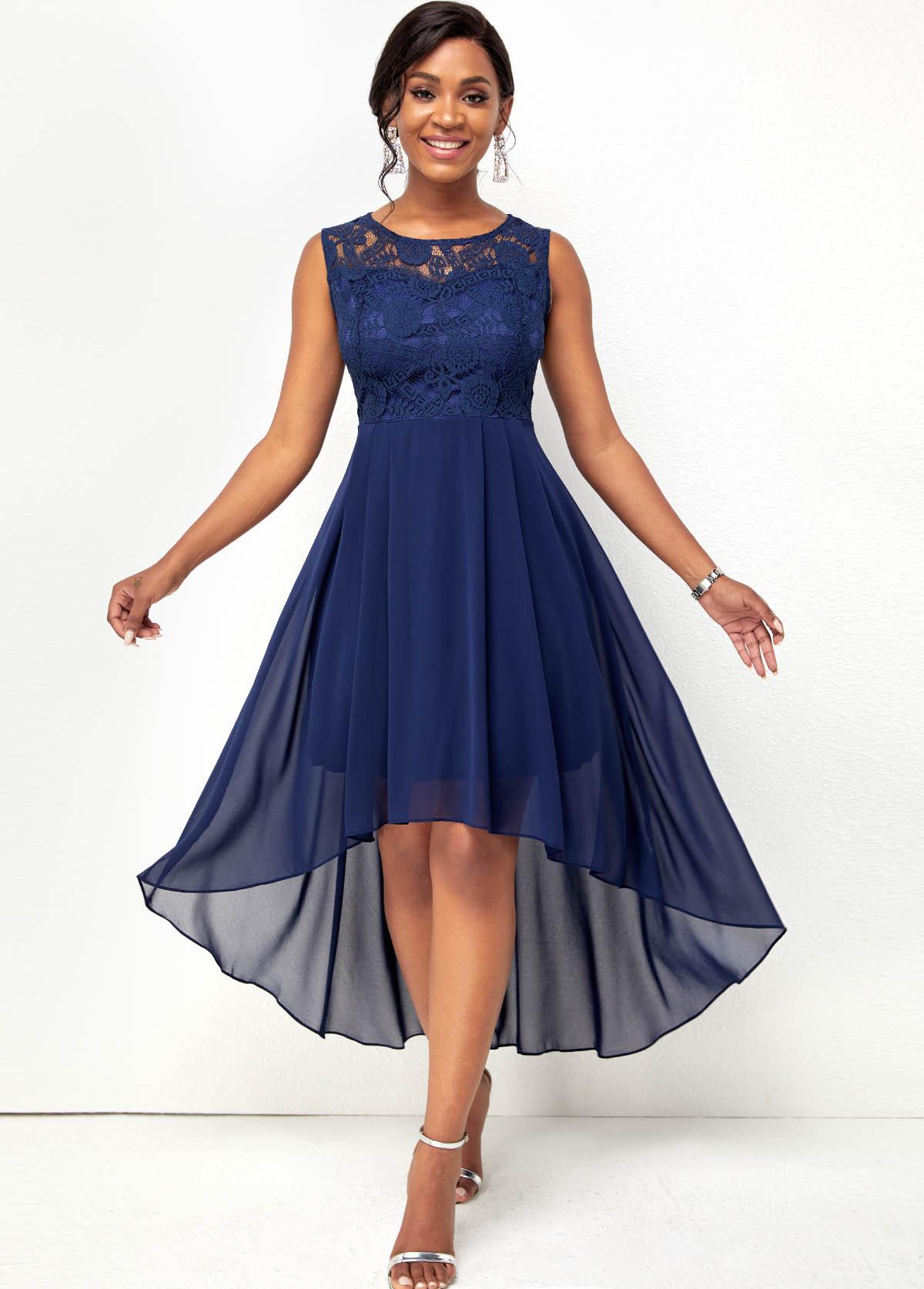 Sleeveless Lace Stitching Chiffon High Low Dress