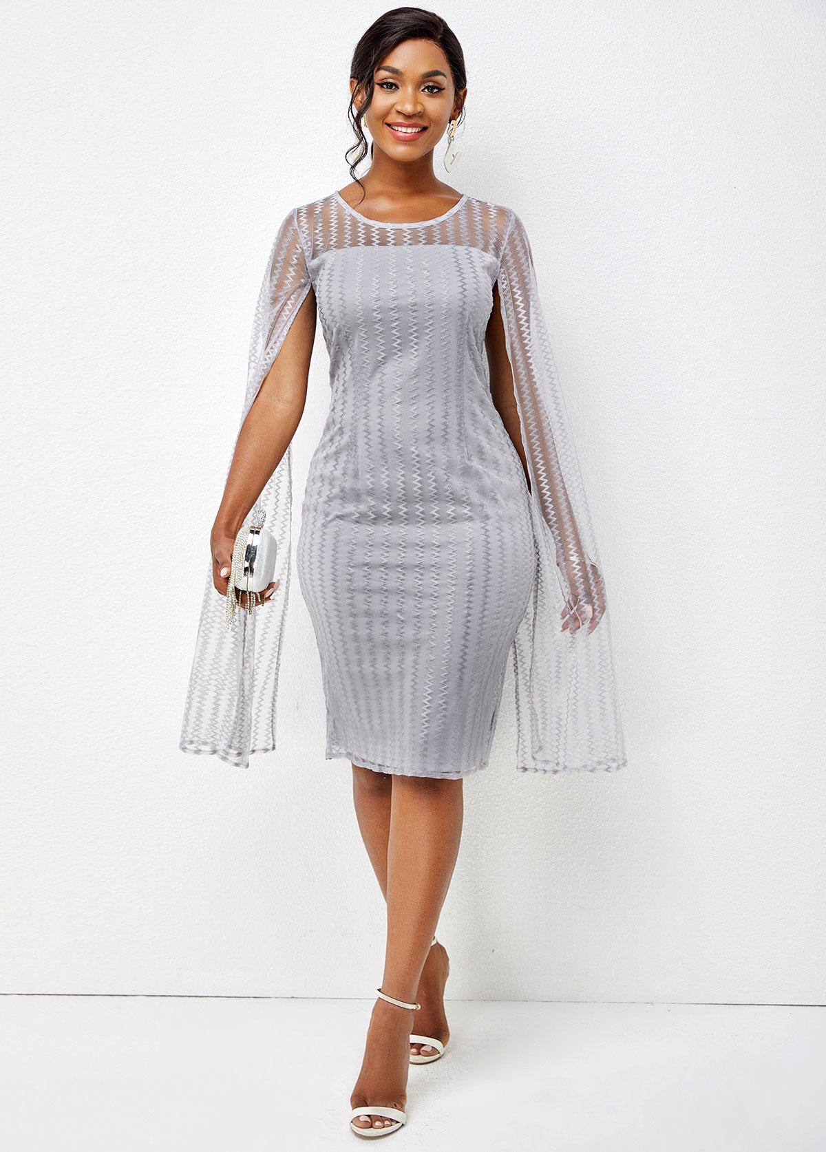 ROTITA Long Sleeve Round Neck Solid Bodycon Dress