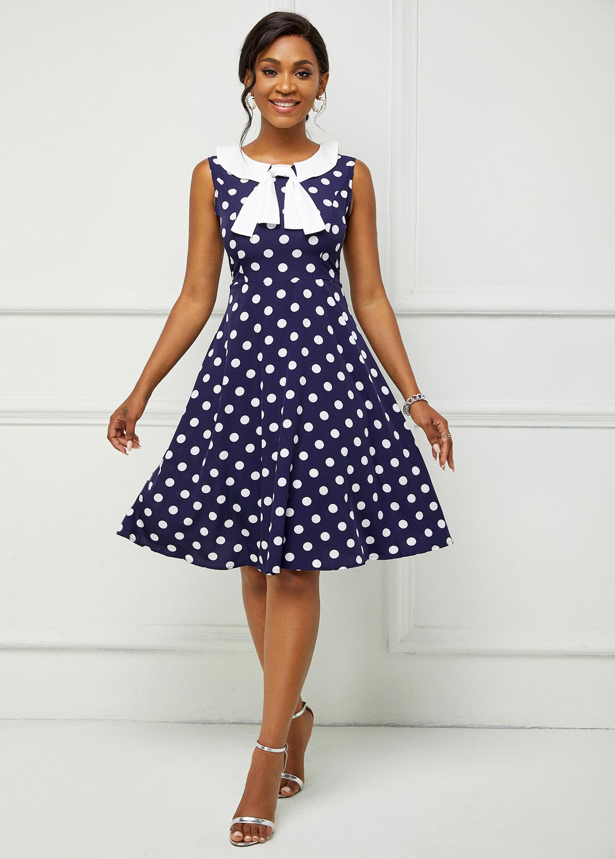Sleeveless Polka Dot Peter Pan Collar Dress