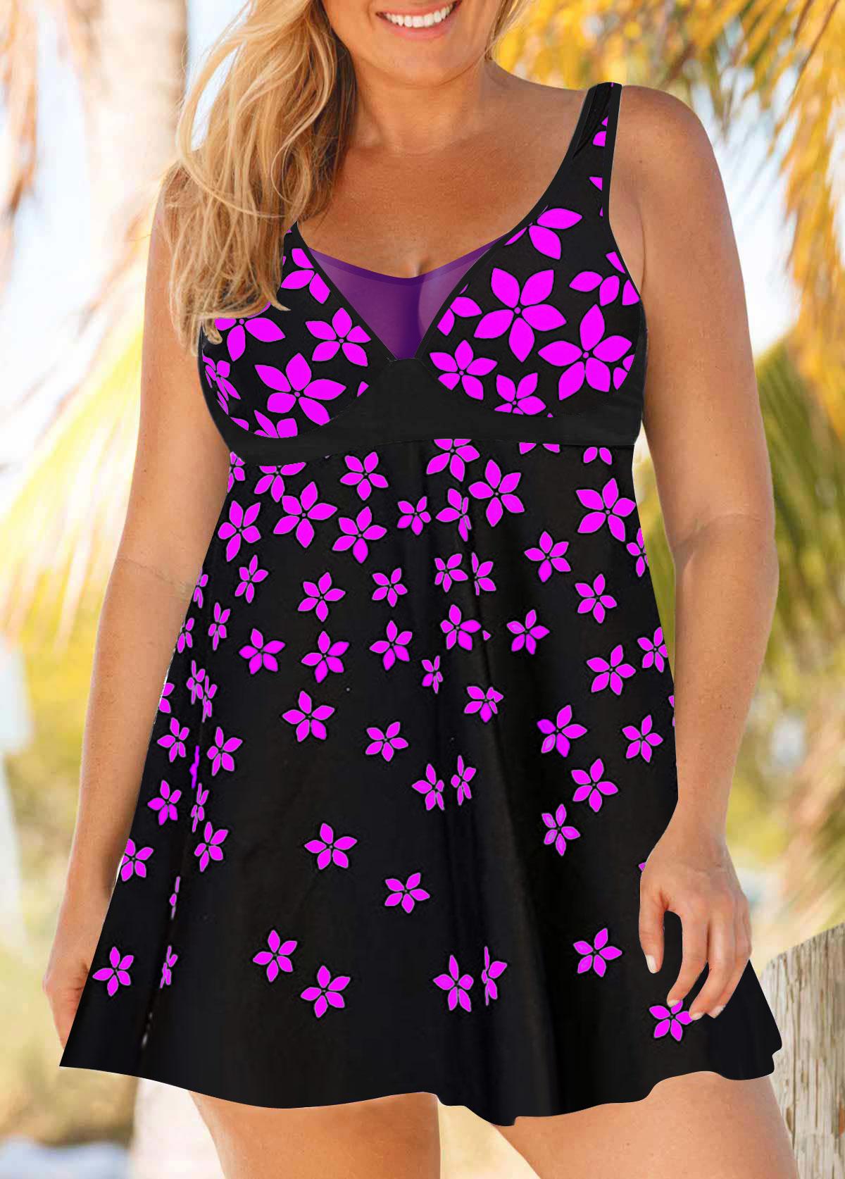 ROTITA Floral Print Plus Size Swimdress and Panty