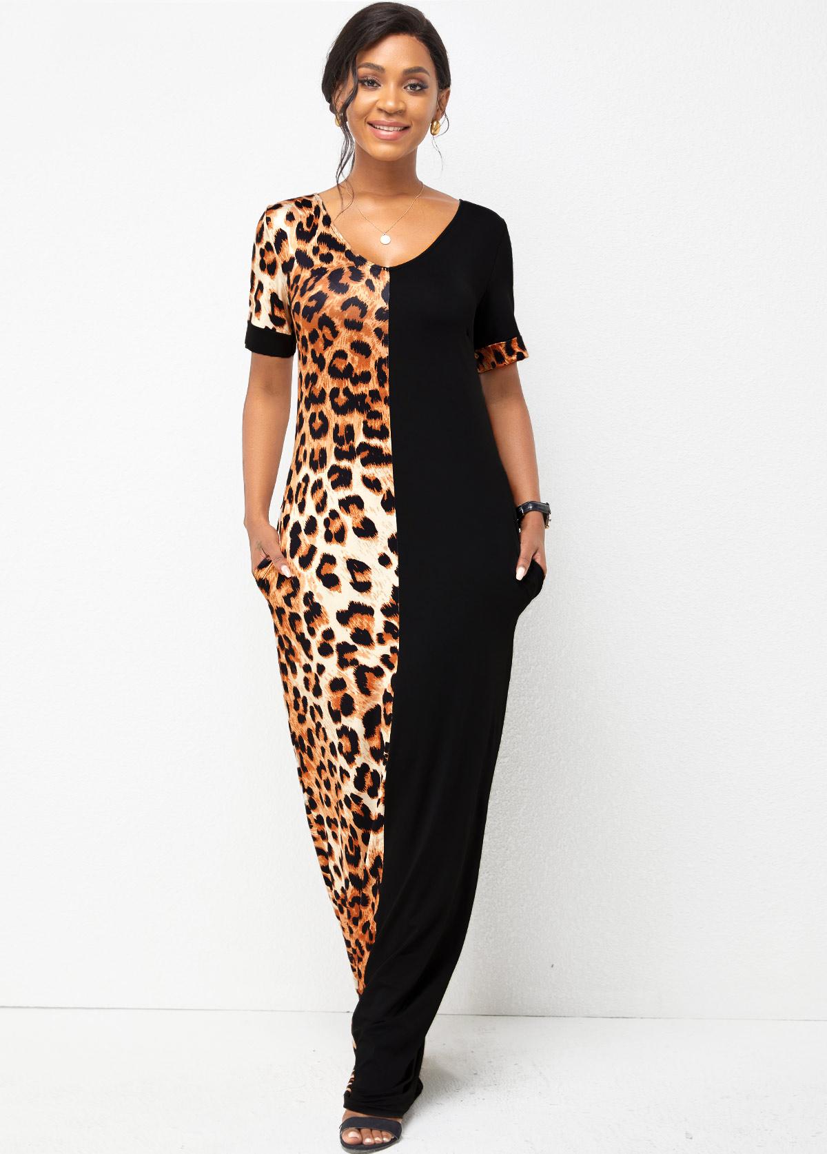 Short Sleeve V Neck Leopard Dress