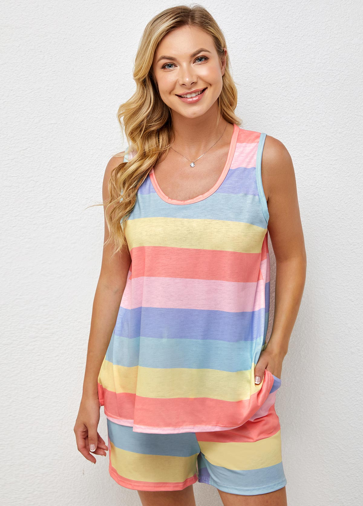 Striped Rainbow Color Round Neck Loungewear Set