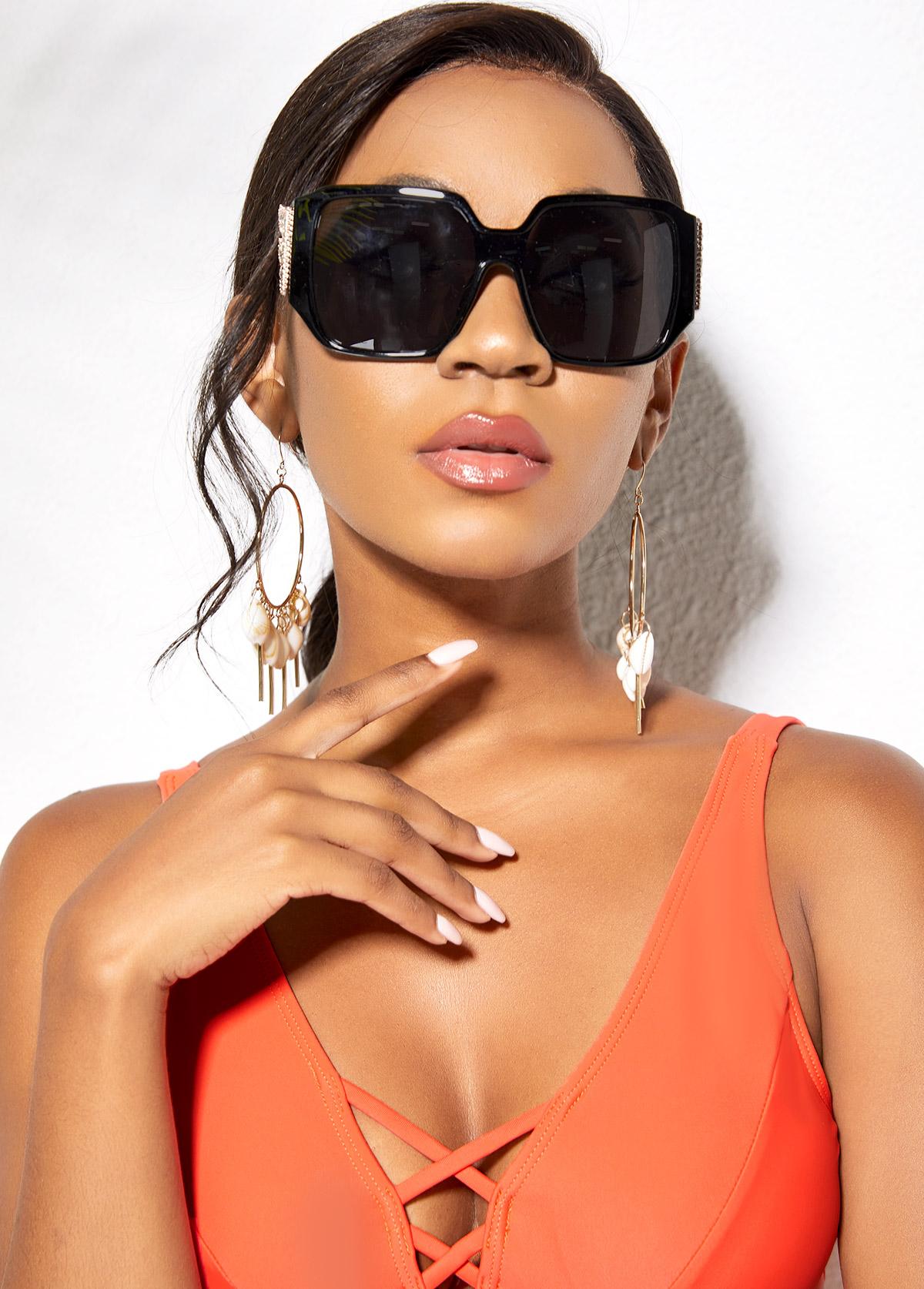 Wing Design Cat Eye Frame Sunglasses