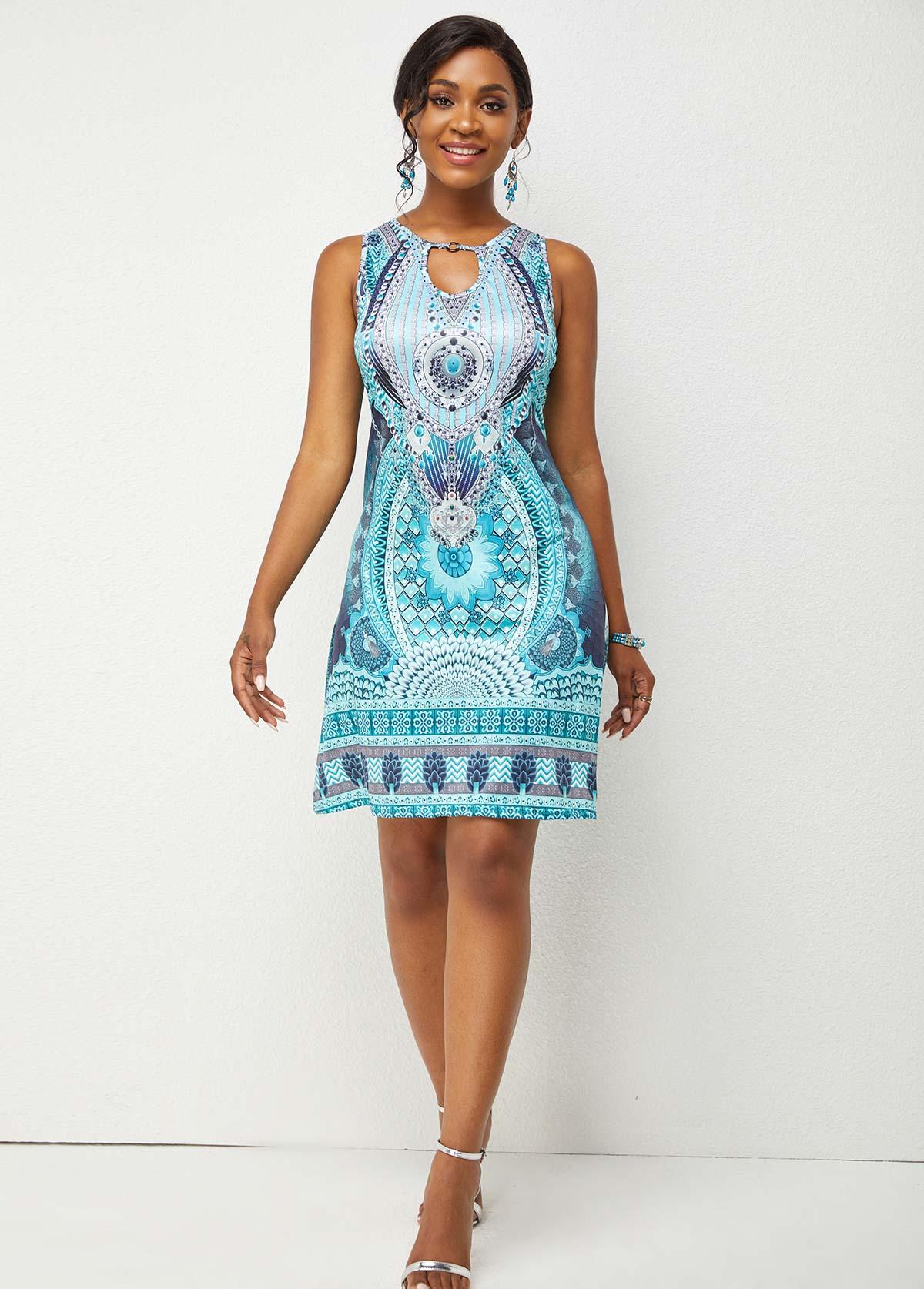 Printed Keyhole Back Cutout Front Sleeveless Dress