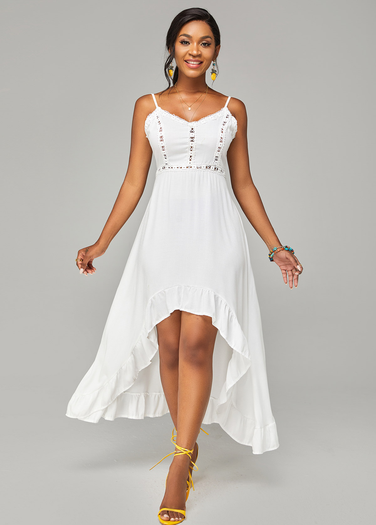 Asymmetric Hem Spaghetti Strap Lace Stitching Dress