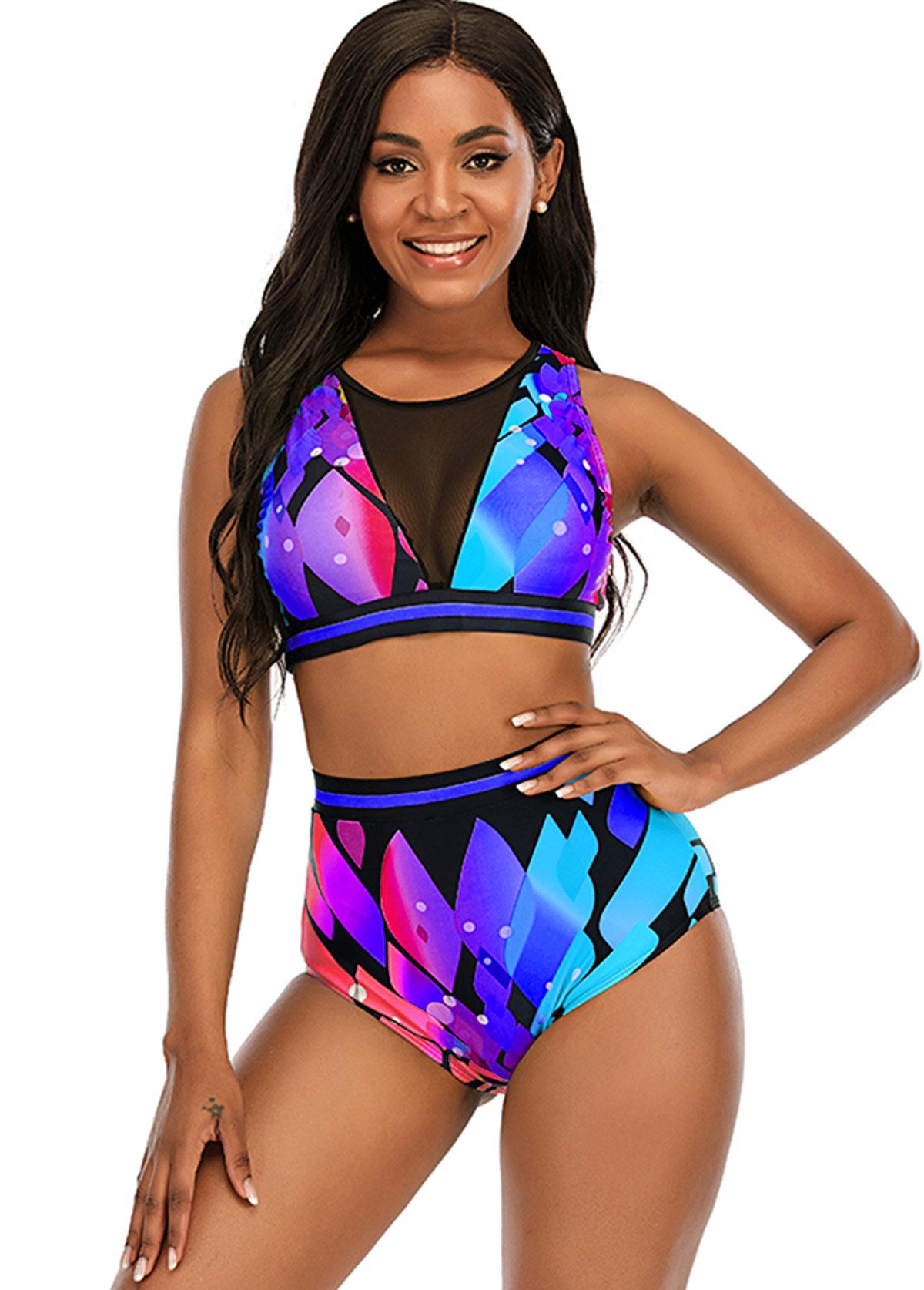 Mesh Stitching High Waist Printed Bikini Set