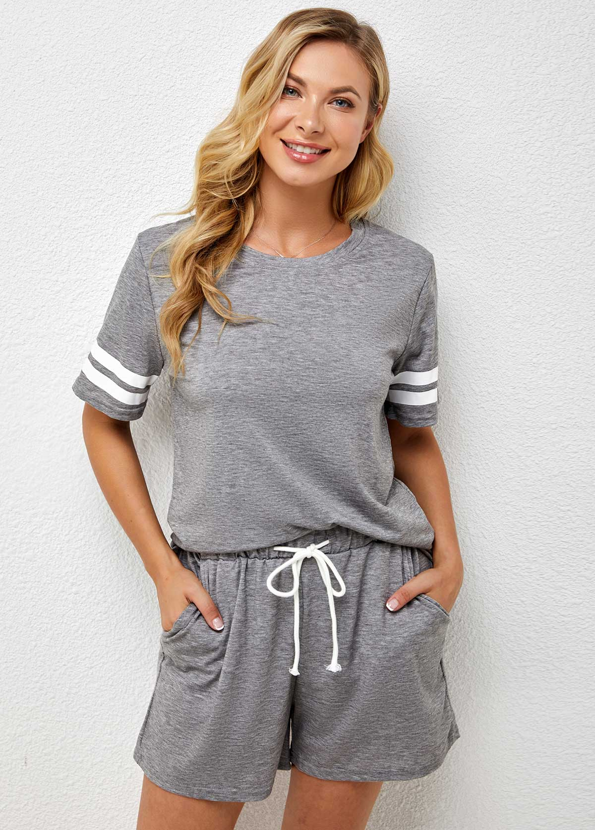 Drawstring Waist Pocket Striped Loungewear Set