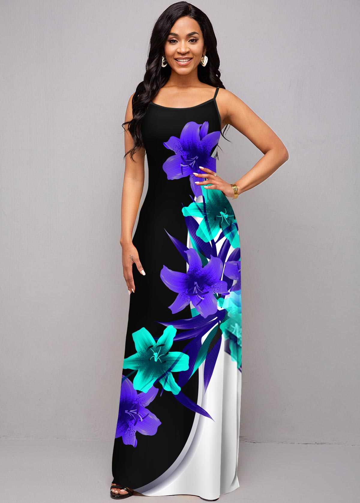 ROTITA Spaghetti Strap Floral Print Maxi Dress