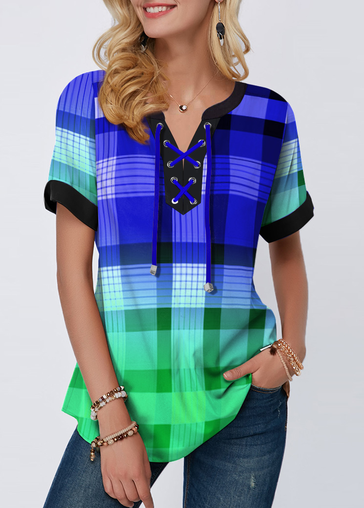 ROTITA Colorful Plaid Print Short Sleeve Lace Up Blouse