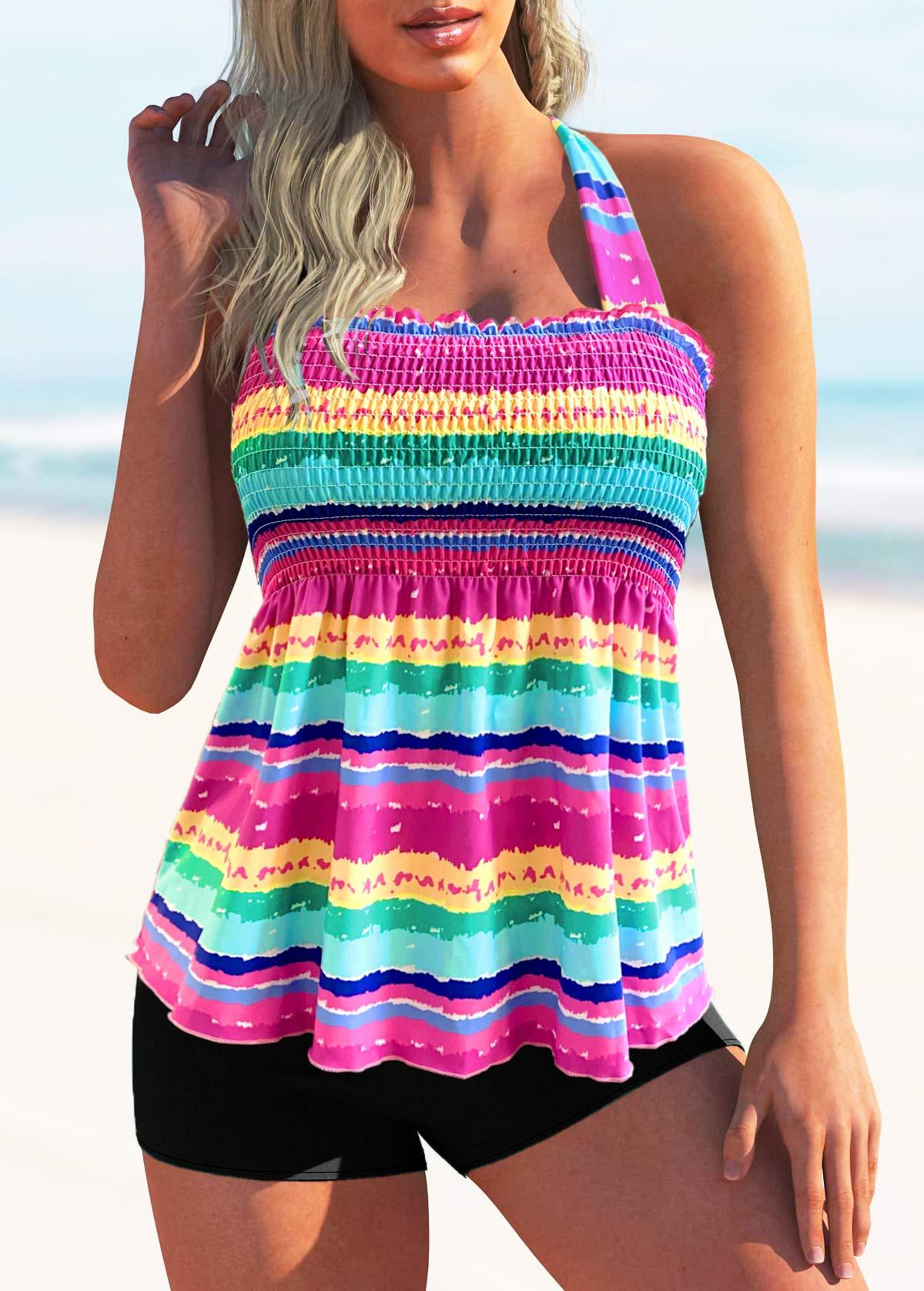 Tie Back Rainbow Stripe Shirred Tankini Set
