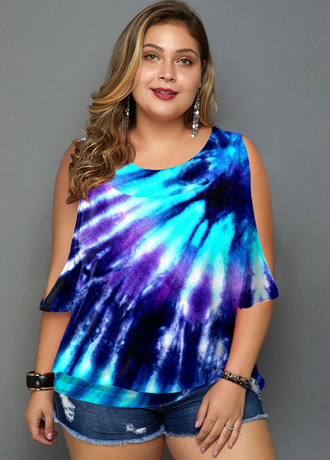 ROTITA Tie Dye Print Plus Size Cold Shoulder T Shirt