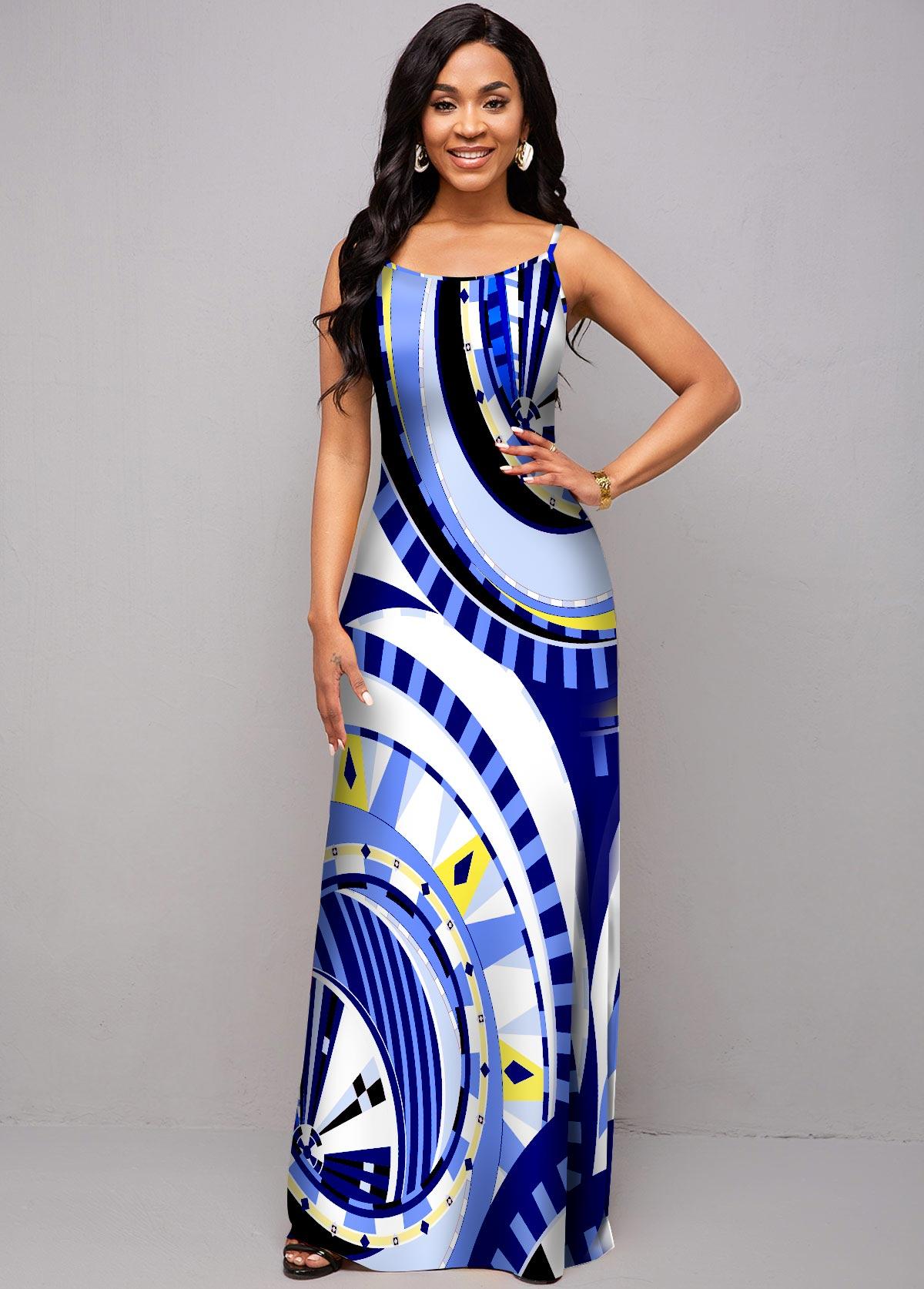 ROTITA Geometric Print Spaghetti Strap High Waist Dress