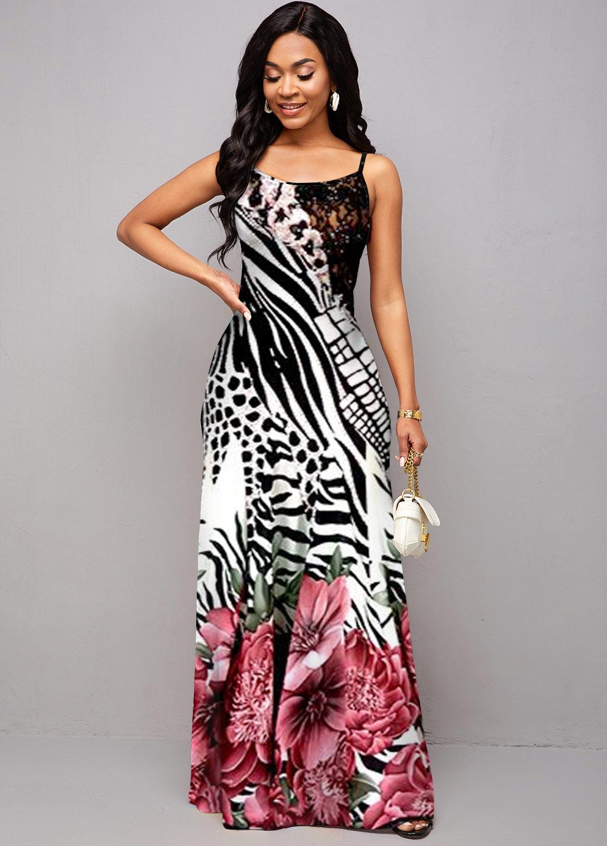 ROTITA Animal and Floral Print Spaghetti Strap Maxi Dress