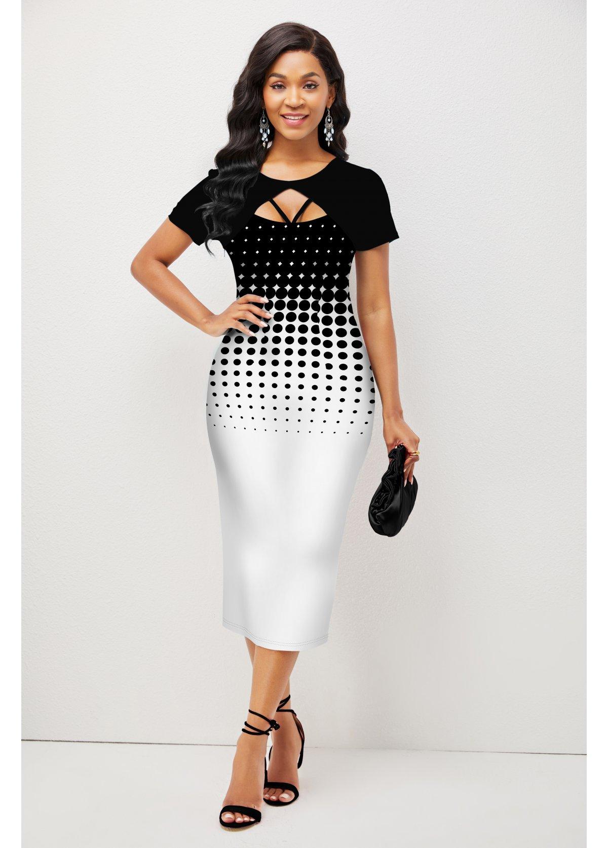 ROTITA Ombre Polka Dot Short Sleeve Dress