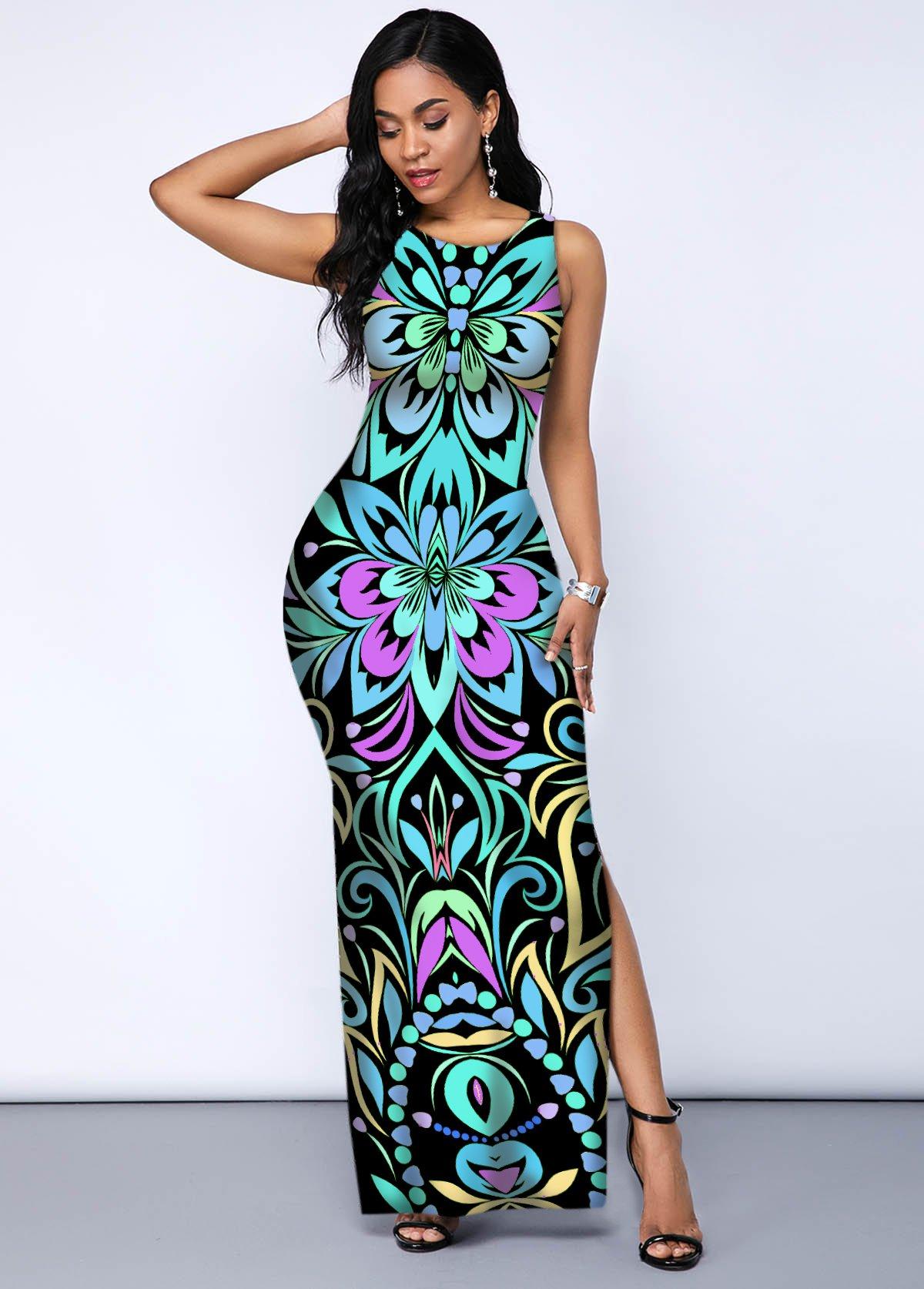 ROTITA Side Slit Tribal Print Sleeveless Dress