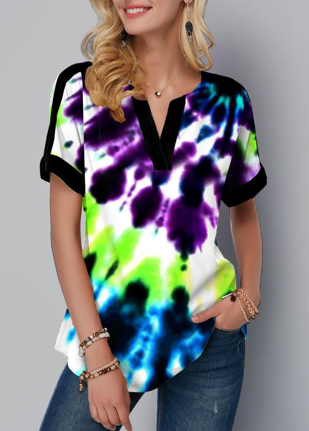 ROTITA Split Neck Tie Dye Print Short Sleeve Blouse