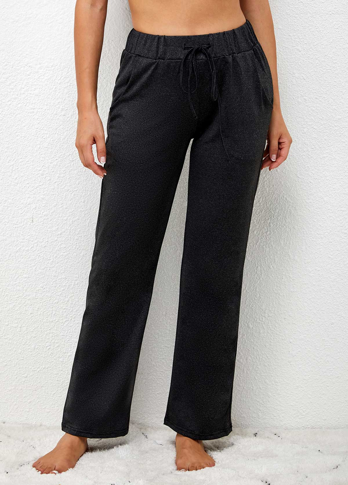 Elastic Waist High Waisted Tie Front Solid Pants