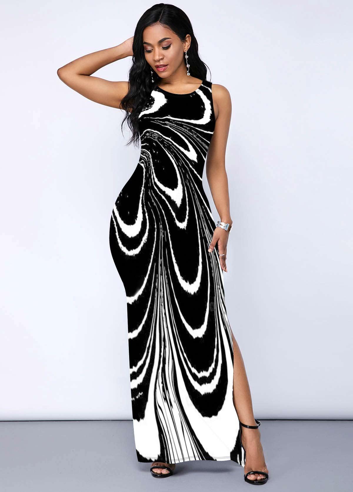 ROTITA Round Neck Printed Side Slit Dress